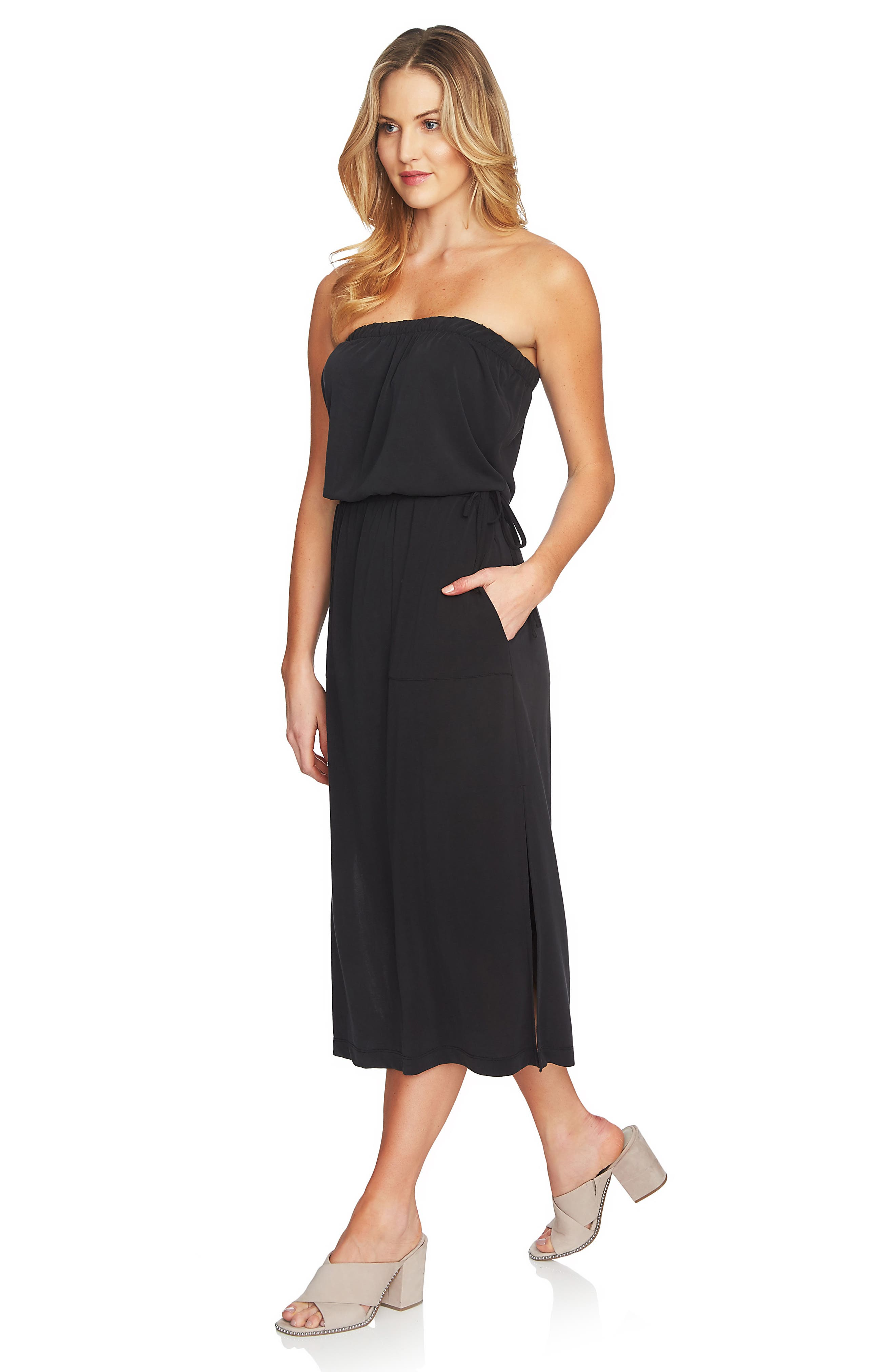 Strapless Maxi Dress,                             Alternate thumbnail 3, color,                             006