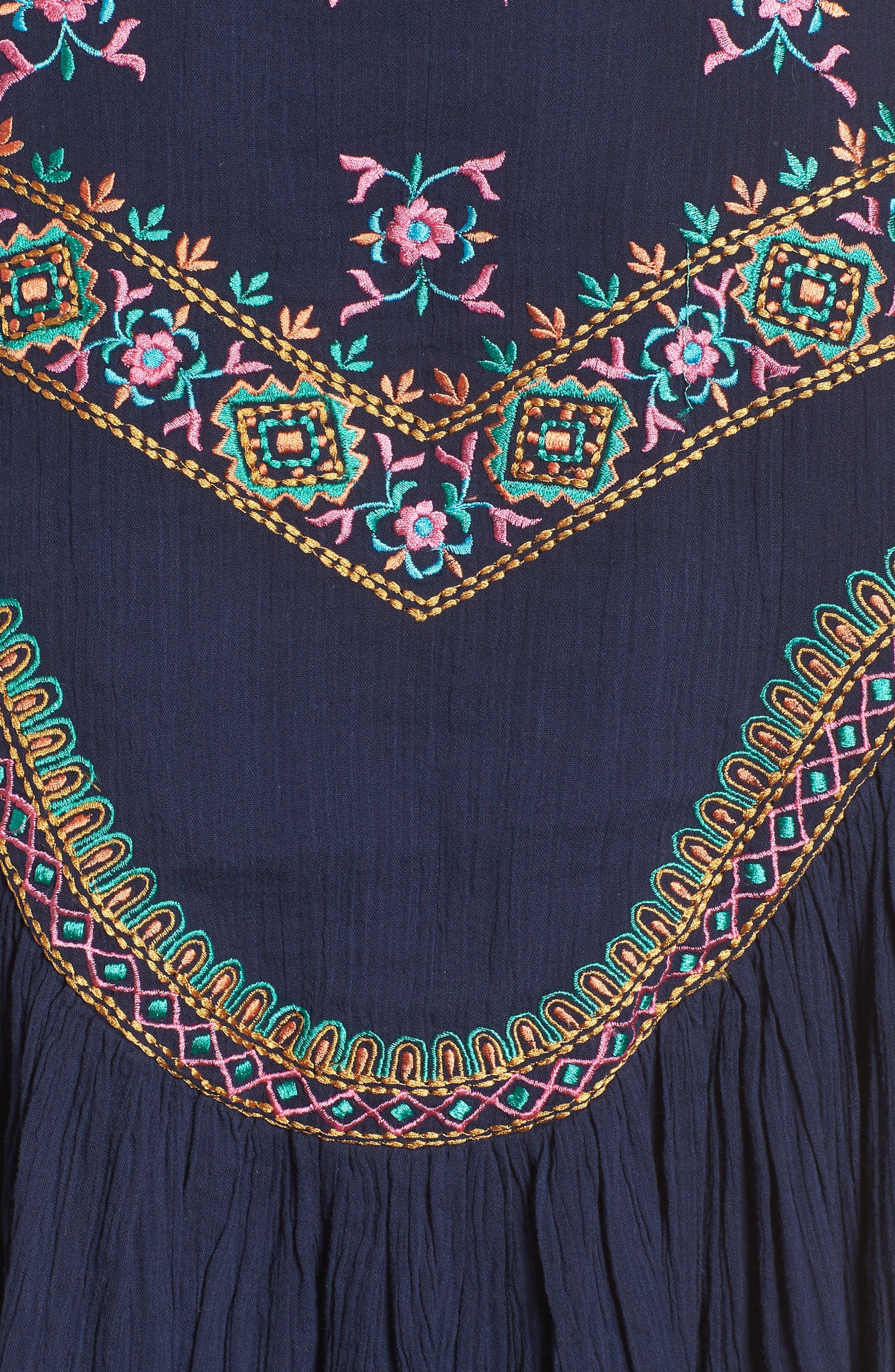 Megan Embroidered Cotton Gauze Blouse,                             Alternate thumbnail 6, color,                             NAVY