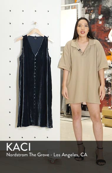 Velvet Button Front Midi Dress, sales video thumbnail