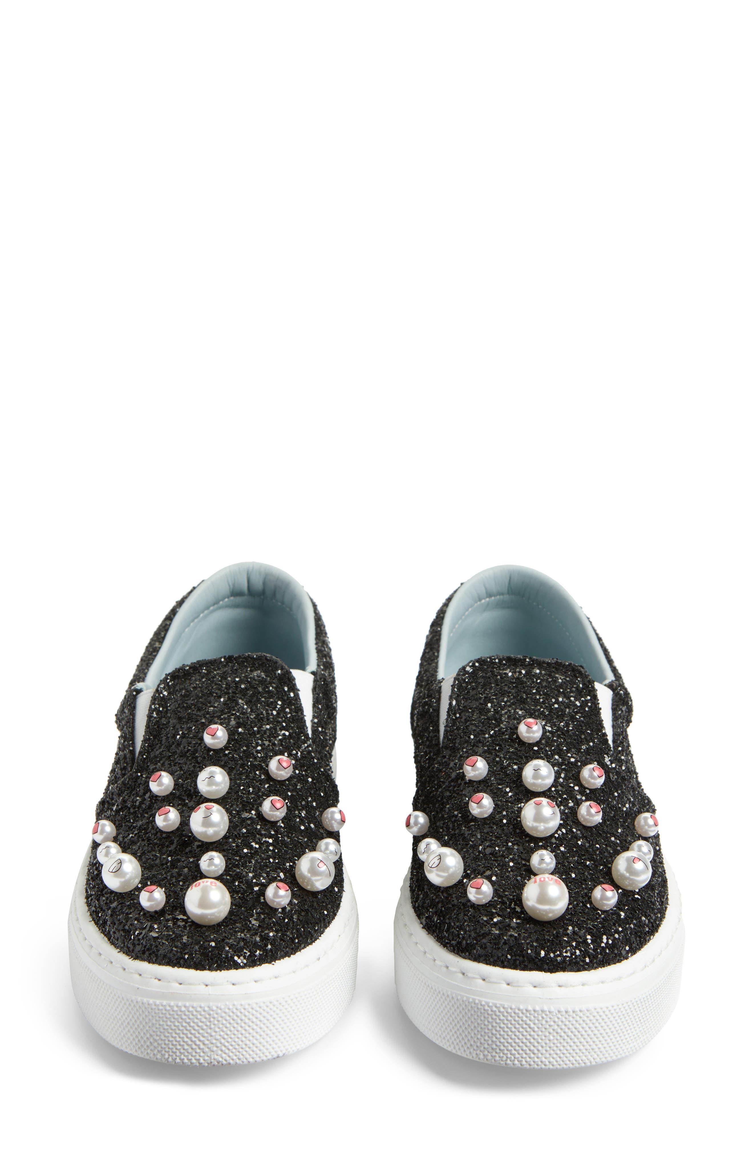 Candies Embellished Slip-On Sneaker,                             Alternate thumbnail 4, color,                             001