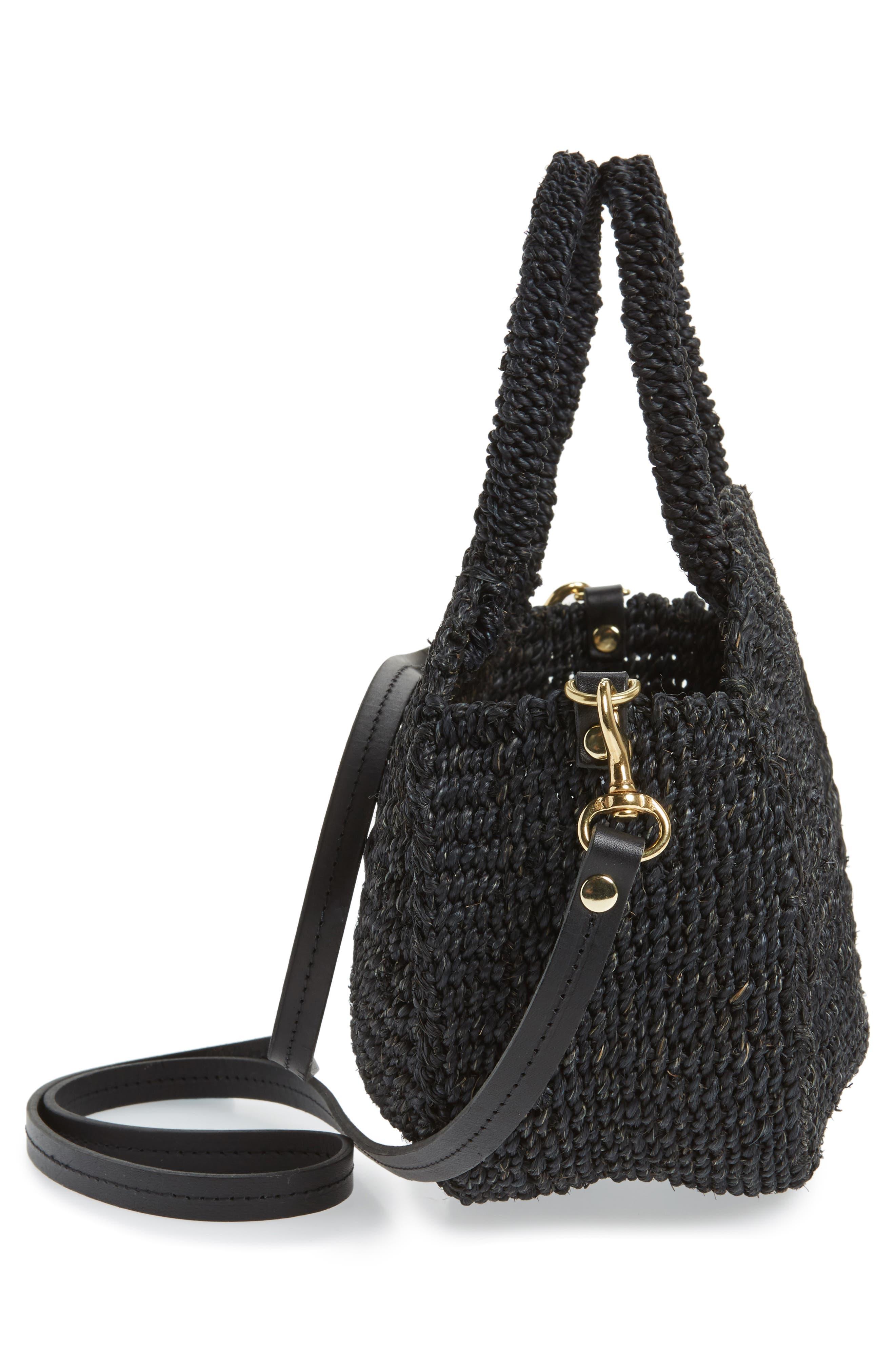 Petite Alice Straw Bag,                             Alternate thumbnail 5, color,                             BLACK WOVEN