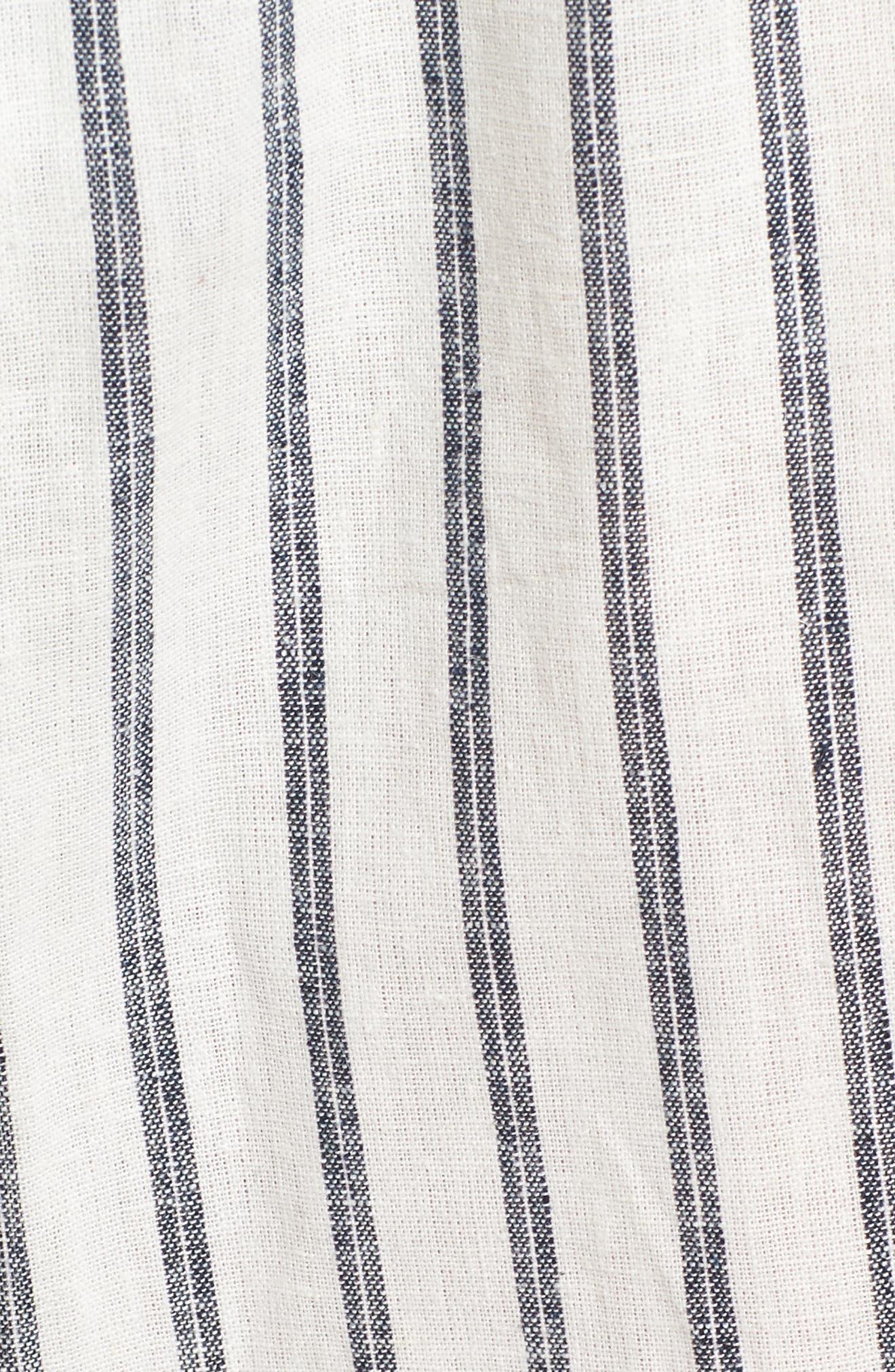 Paper Bag Linen & Cotton Pants,                             Alternate thumbnail 6, color,                             IVORY / BLUE STRIPE