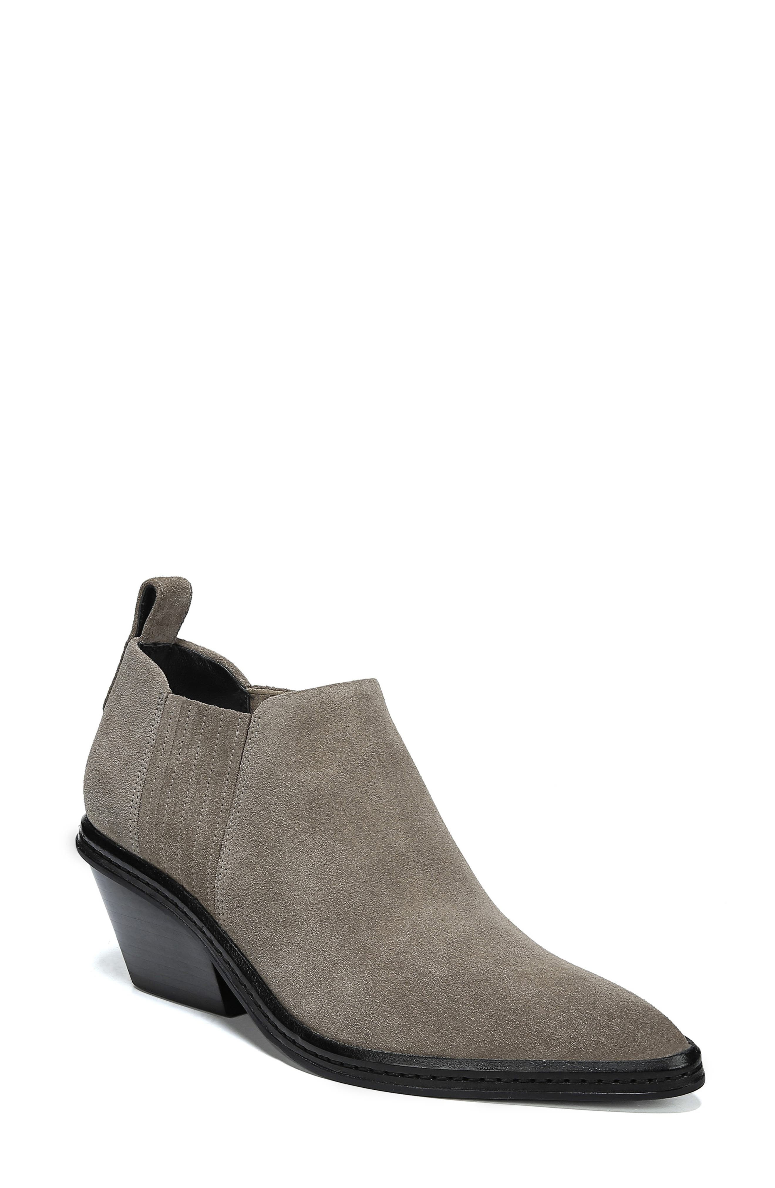 Women'S Farly Pointed Toe Suede Mid-Heel Ankle Booties in Clay Suede