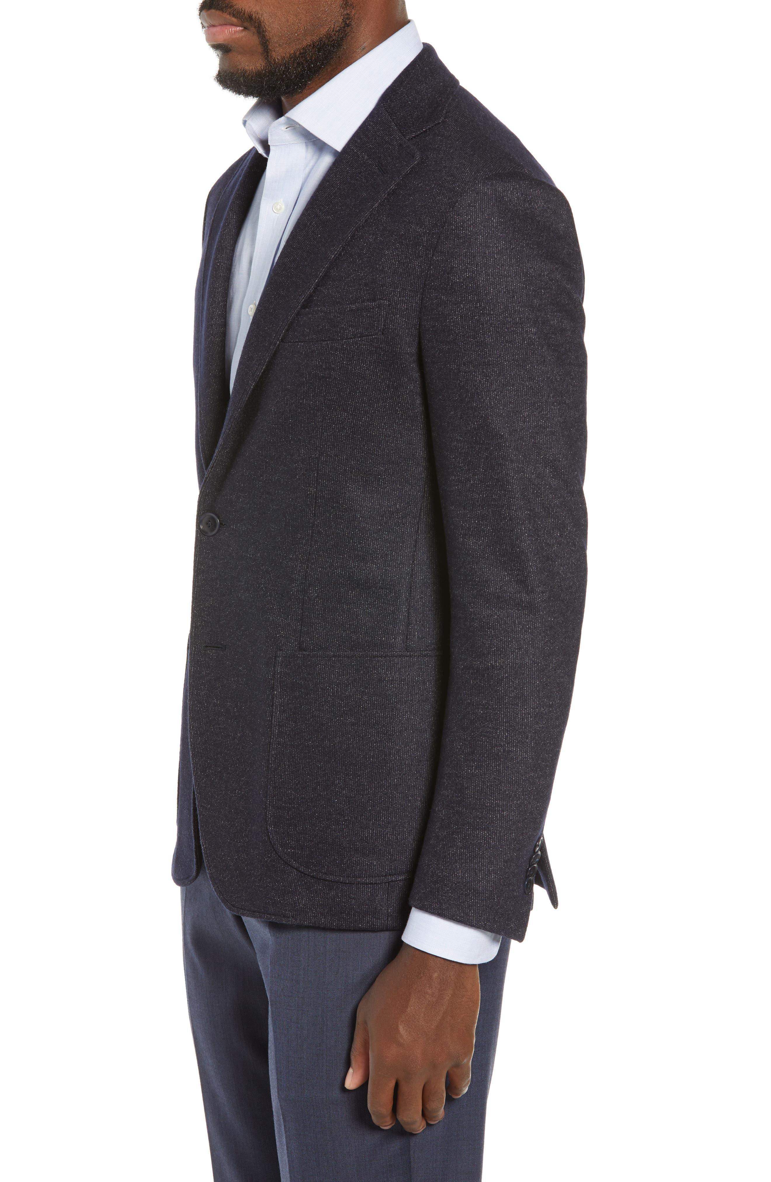 Trim Fit Cotton Blend Blazer,                             Alternate thumbnail 3, color,                             NAVY
