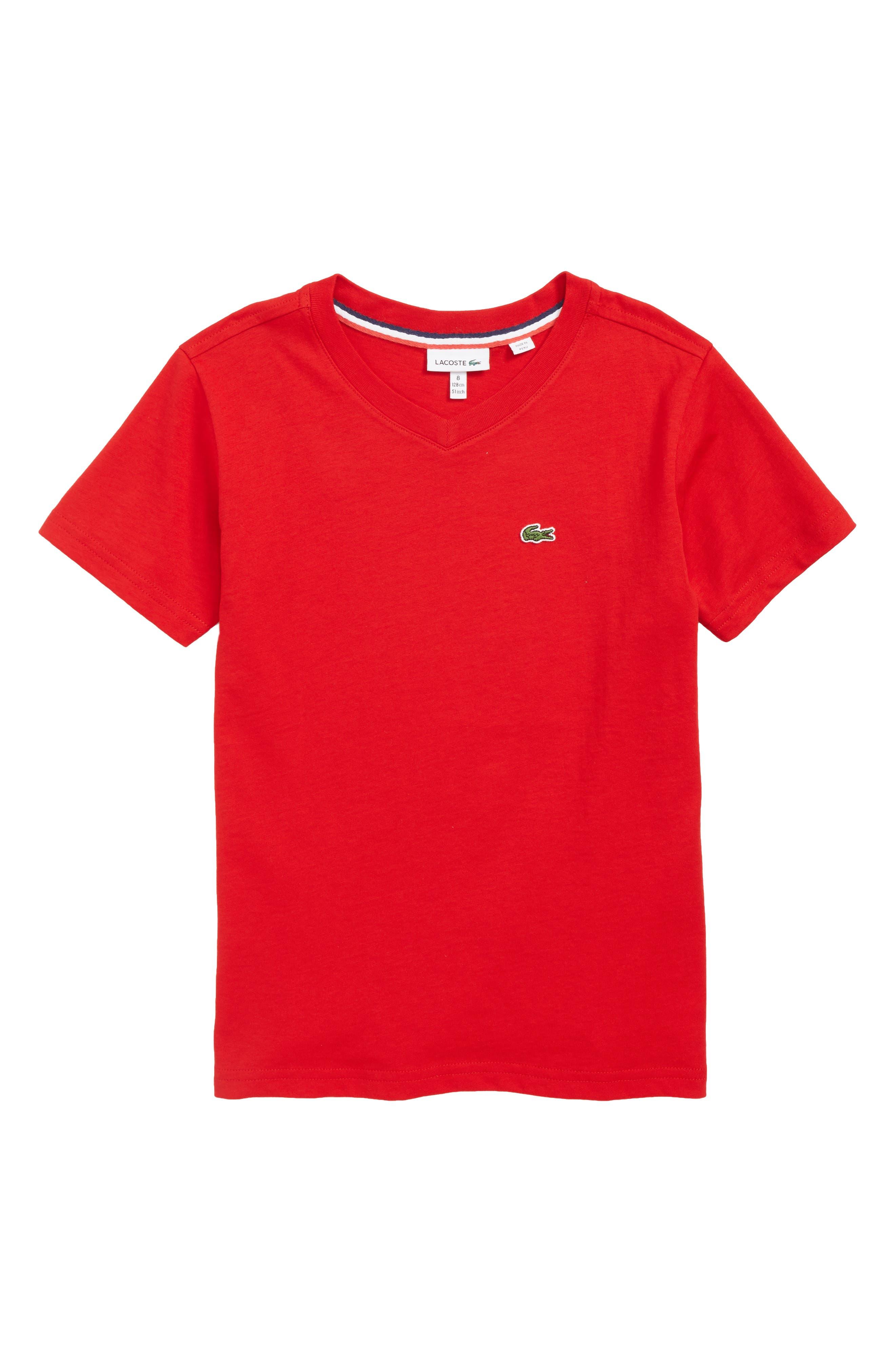 Solid V-Neck T-Shirt, Main, color, RED