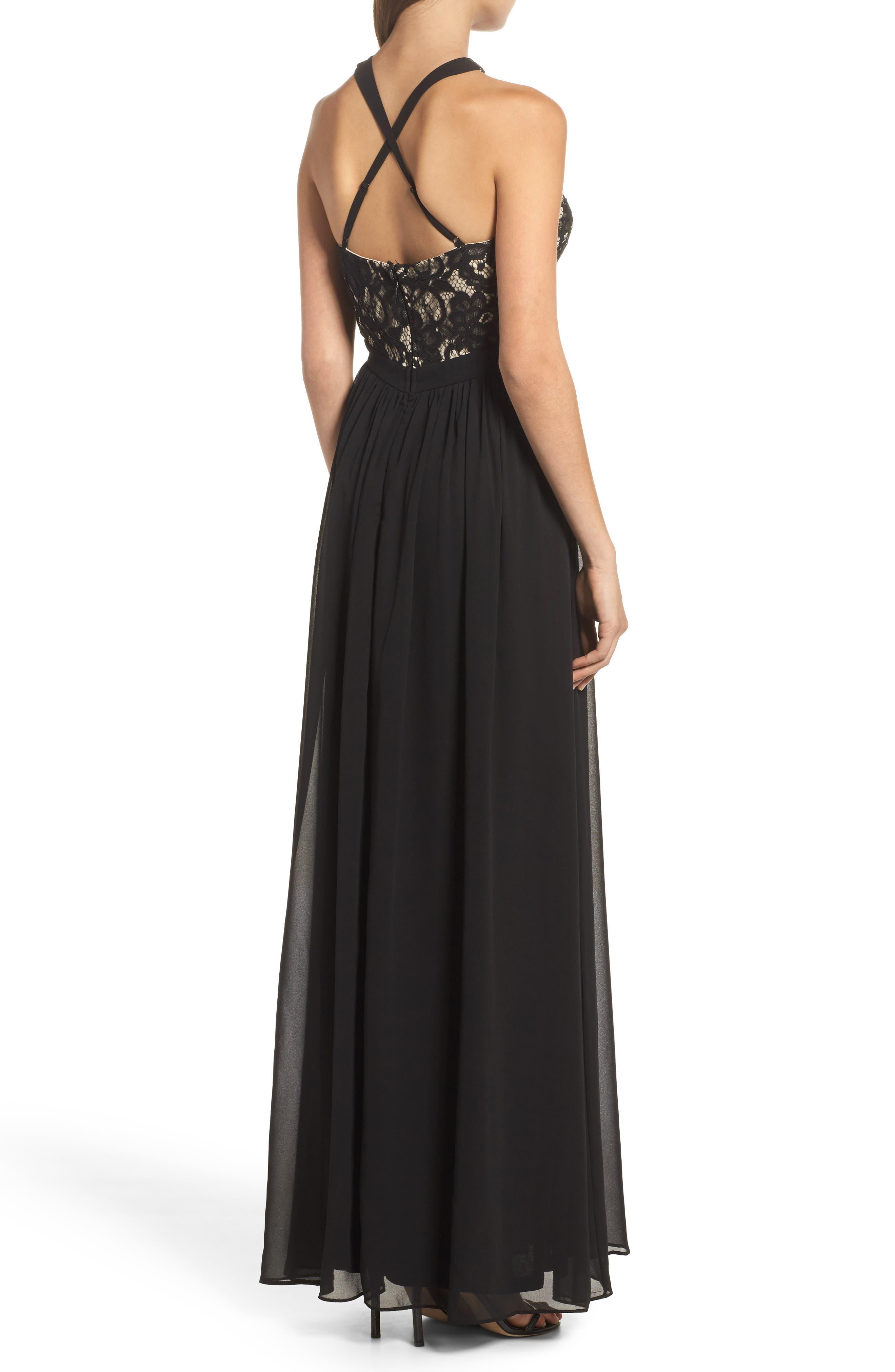 Sequin Lace & Chiffon Halter Gown,                             Alternate thumbnail 2, color,                             BLACK/ NUDE
