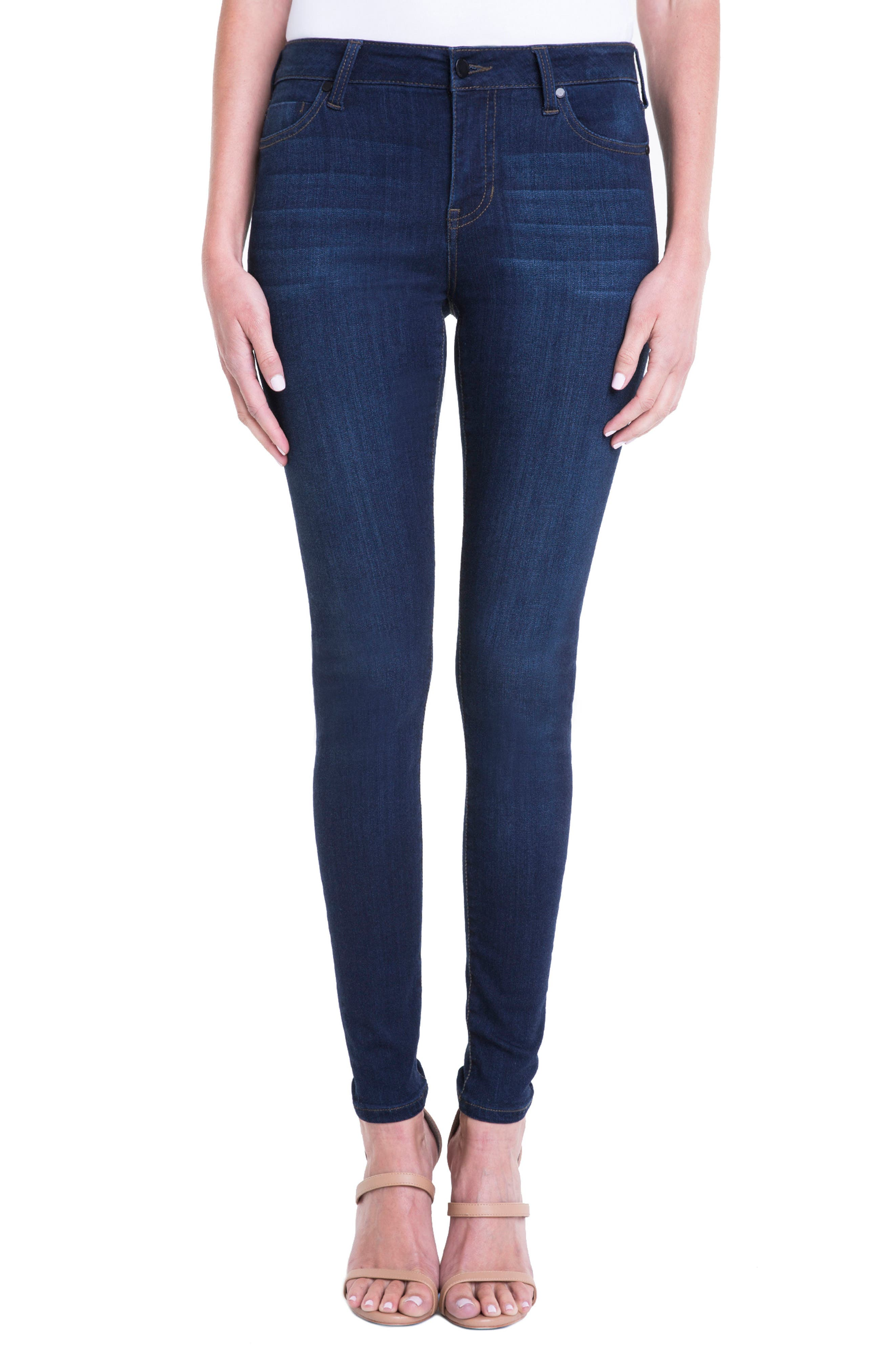 Abby Mid Rise Soft Stretch Skinny Jeans,                             Main thumbnail 1, color,                             DOHENY DARK