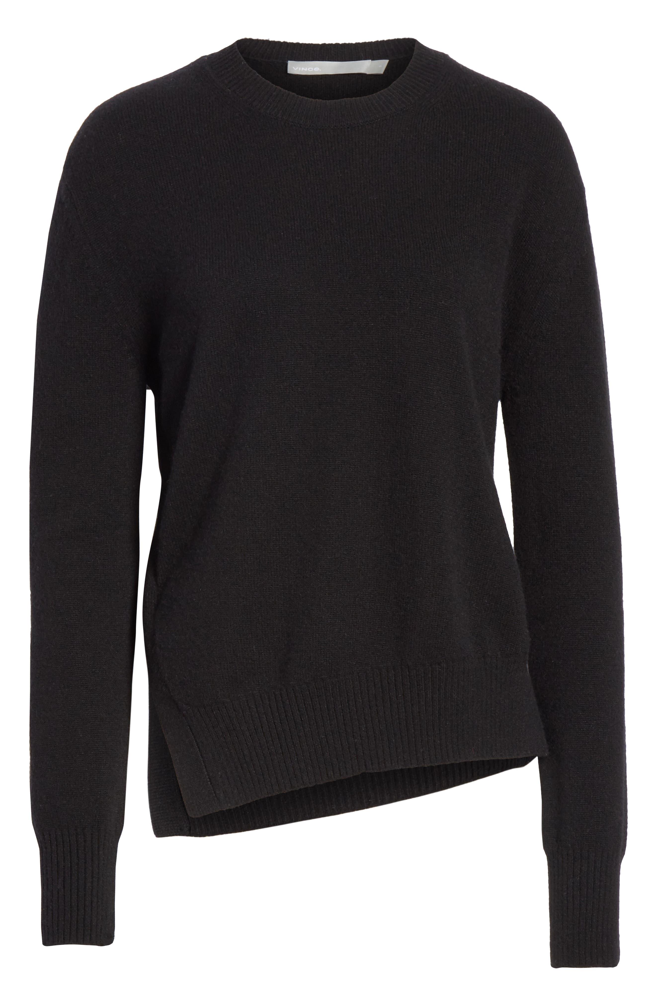 Asymmetrical Cashmere Sweater,                             Alternate thumbnail 6, color,                             BLACK