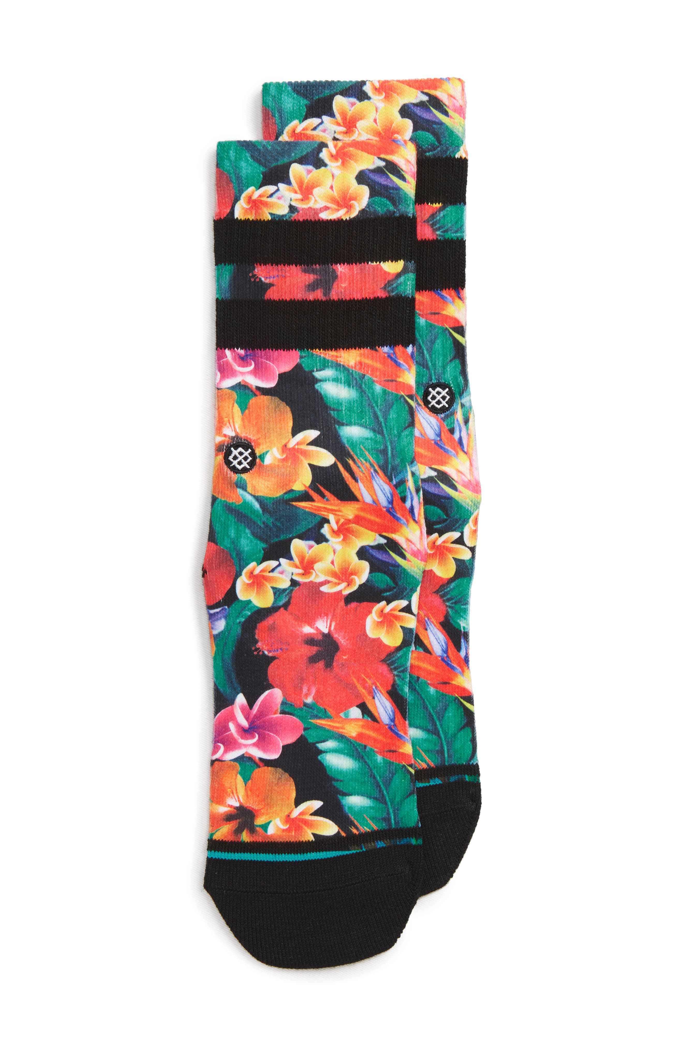 Pau Floral Socks,                         Main,                         color, GREEN MULTI
