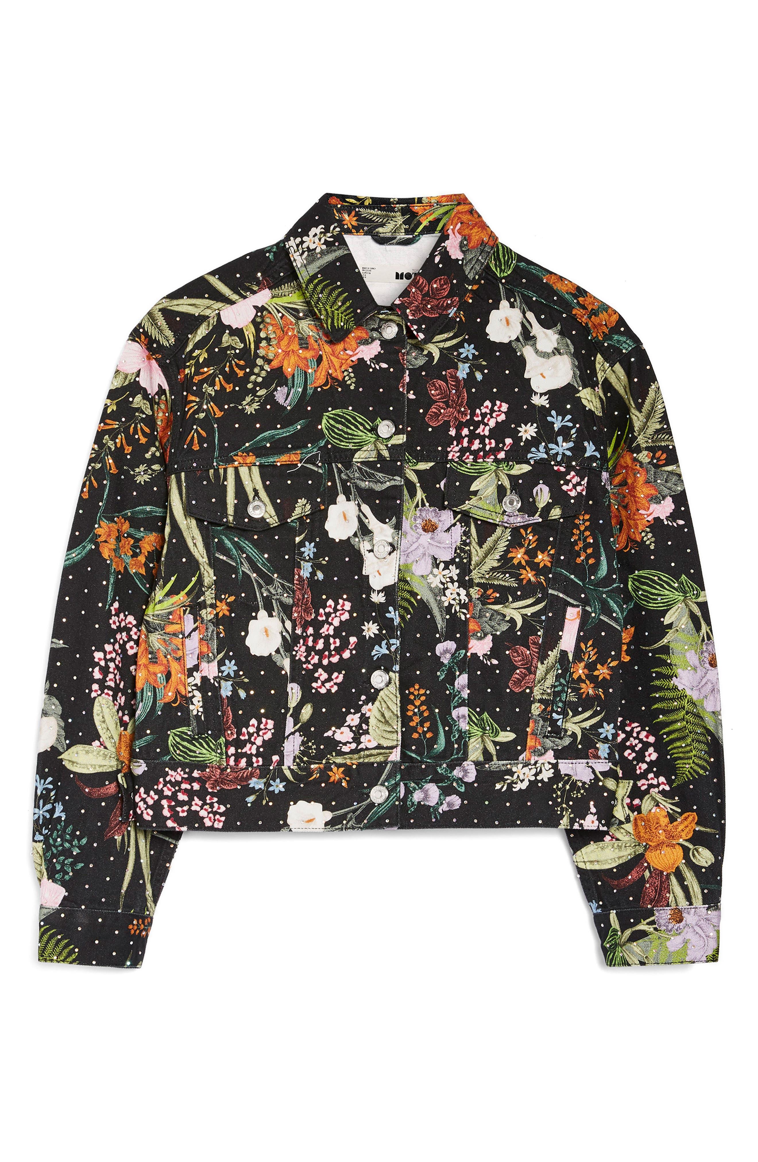 Hawaii Floral Crystal Denim Jacket,                             Alternate thumbnail 4, color,                             001