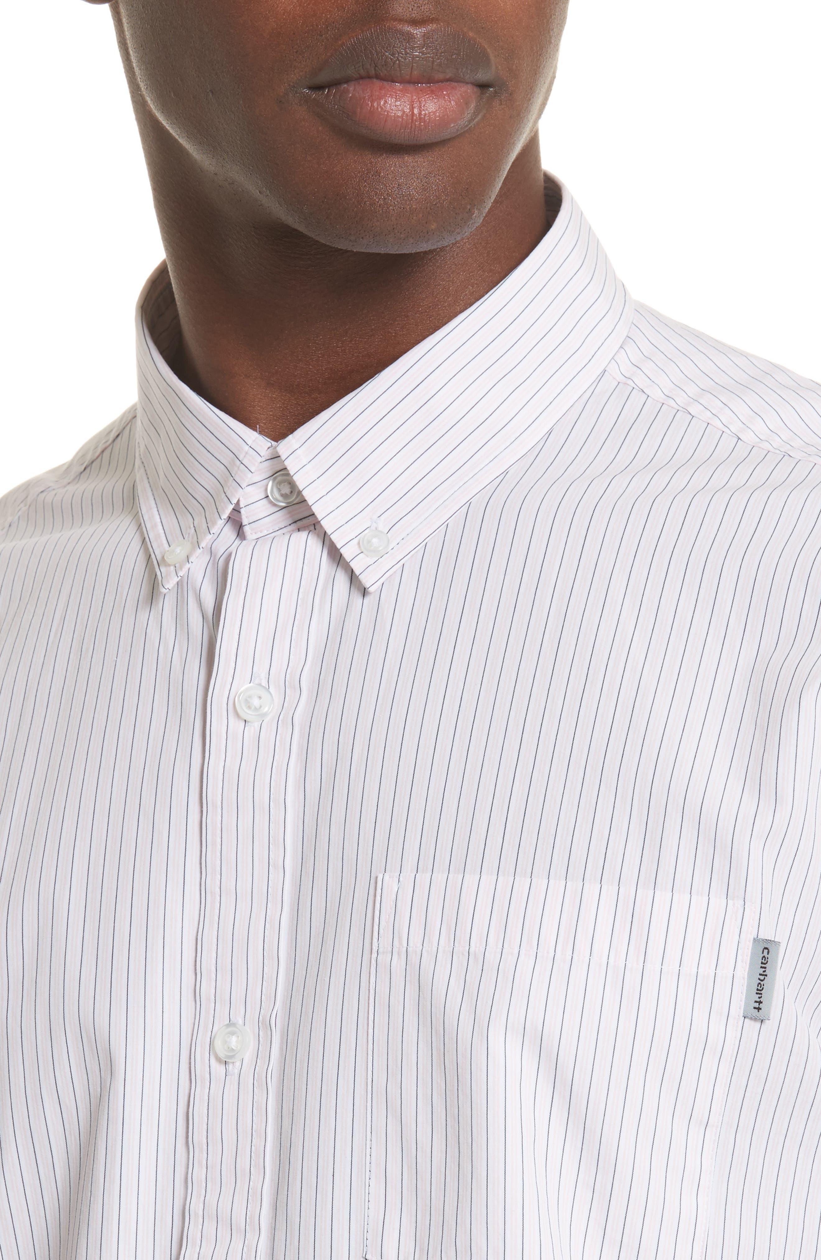 Crane Stripe Woven Shirt,                             Alternate thumbnail 4, color,                             630