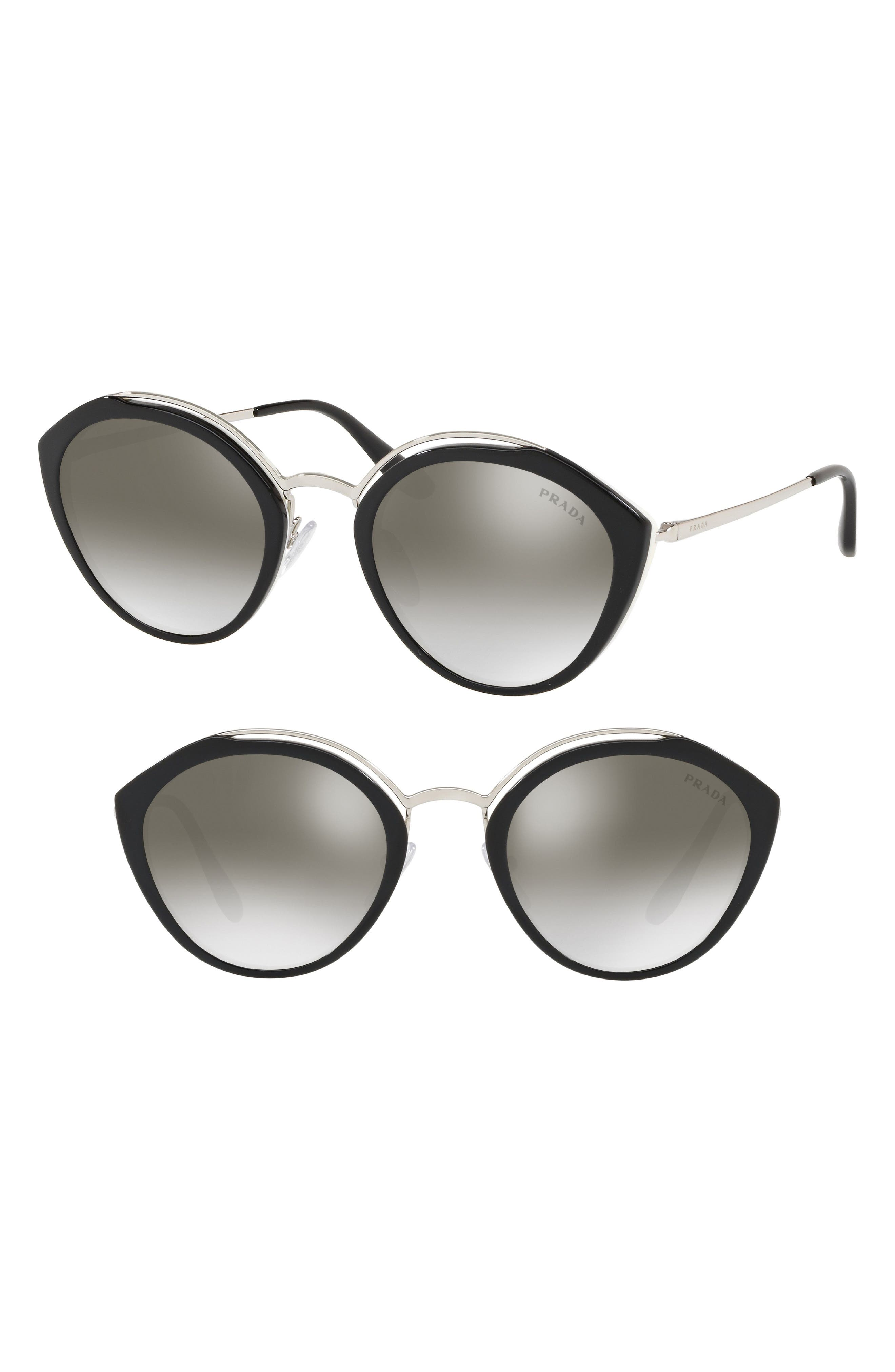 53mm Round Sunglasses,                             Main thumbnail 1, color,                             BLACK/ IVORY GRADIENT MIRROR