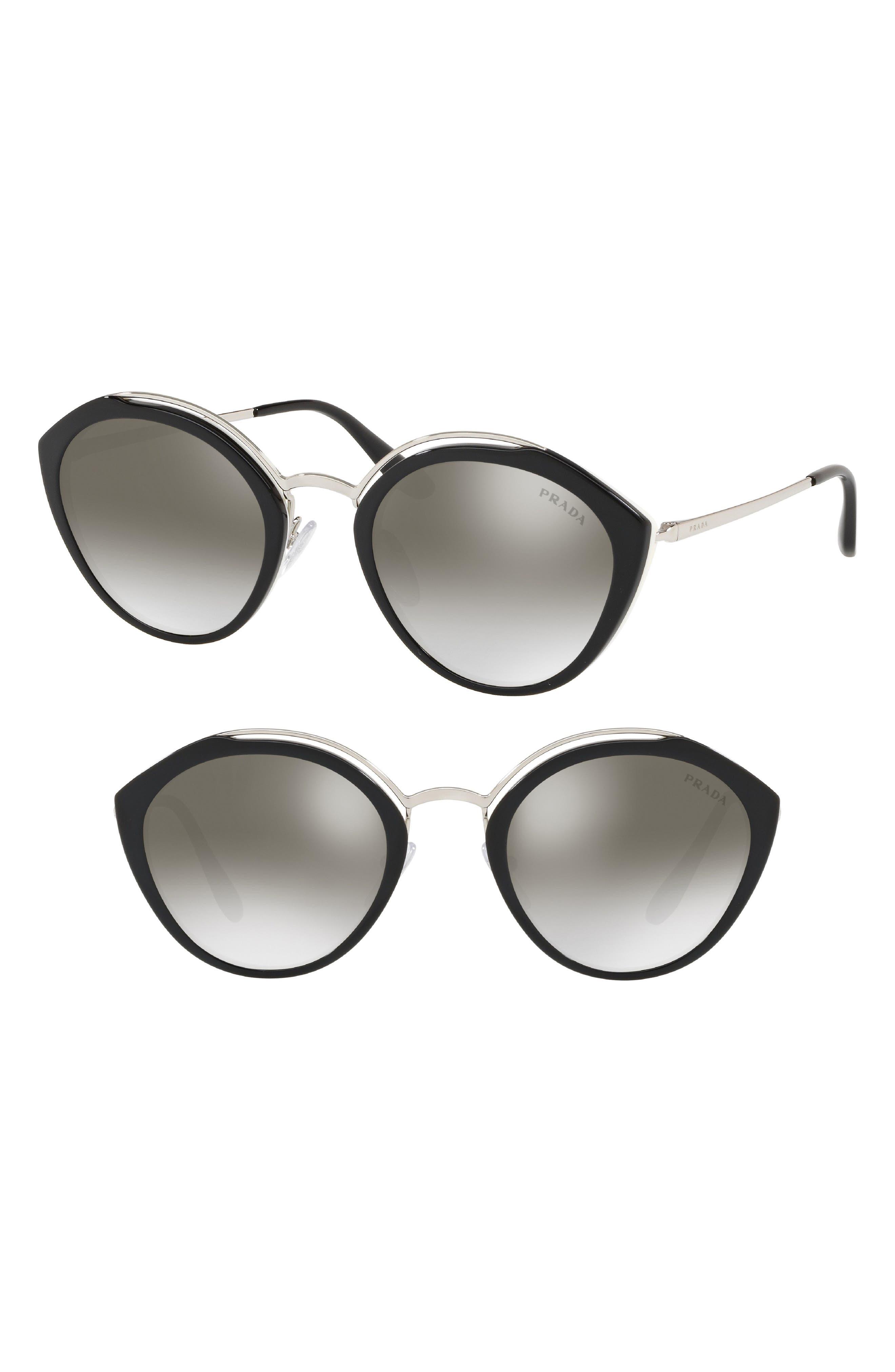 53mm Round Sunglasses,                         Main,                         color, BLACK/ IVORY GRADIENT MIRROR