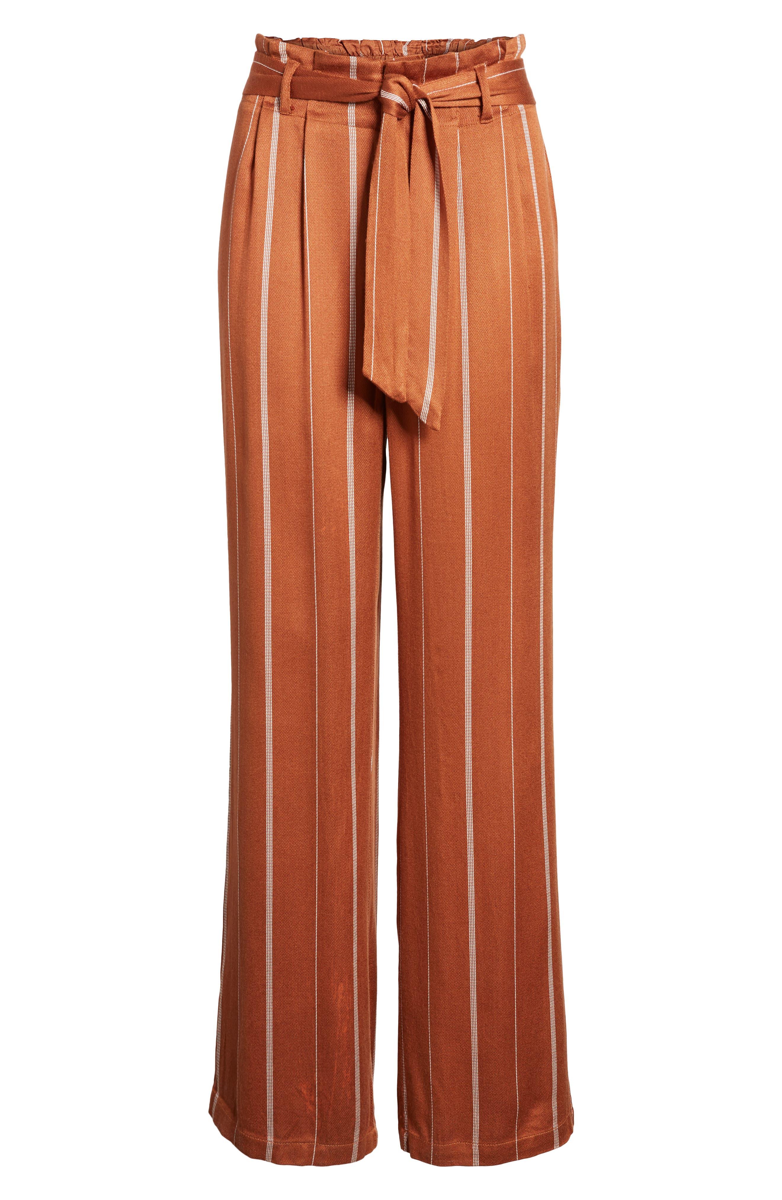 Paperbag Waist Pants,                             Alternate thumbnail 6, color,                             RUST CIDER/ CREAM STRIPES