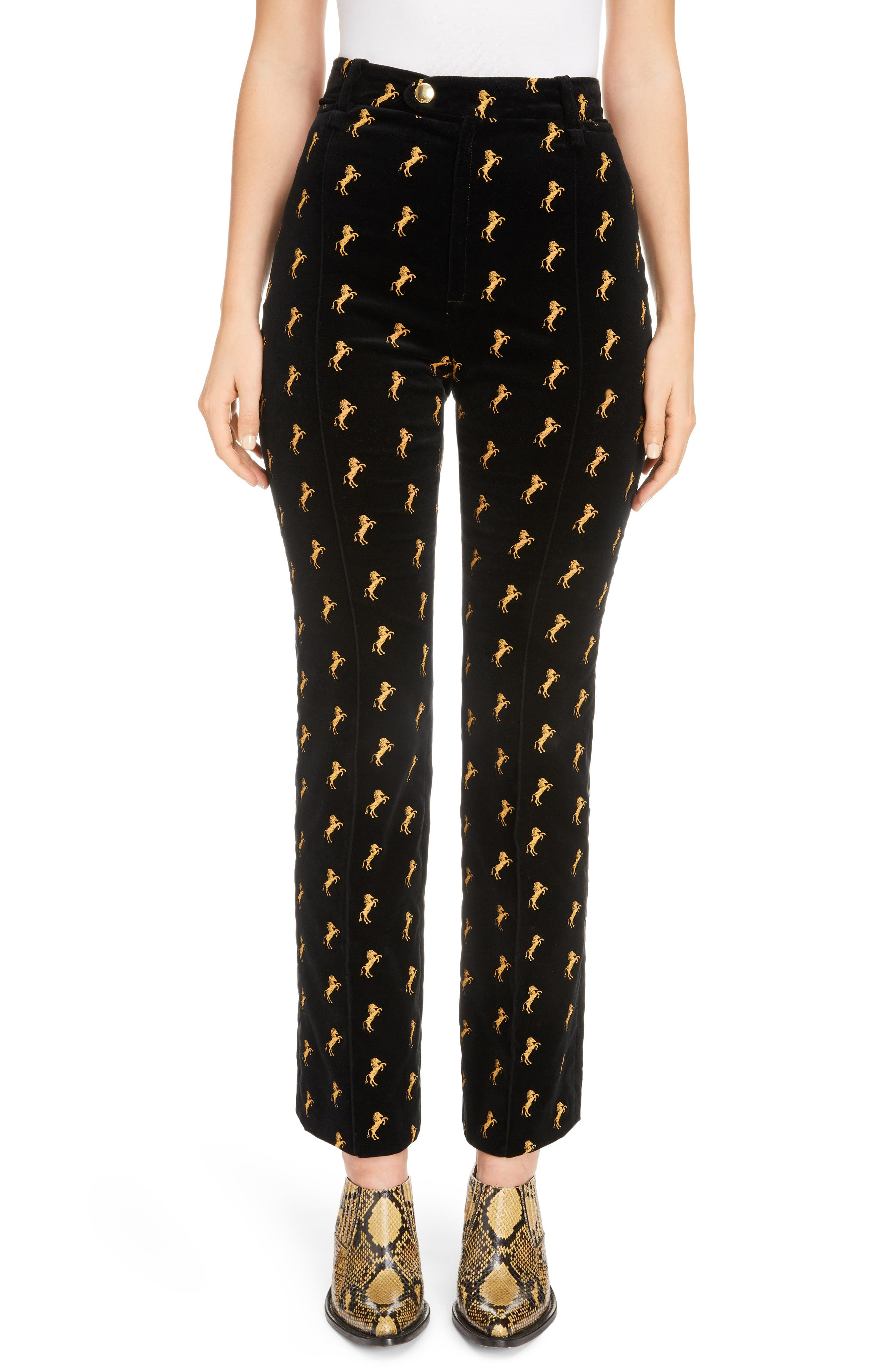 Horse Embroidered Velvet Pants,                         Main,                         color, 001