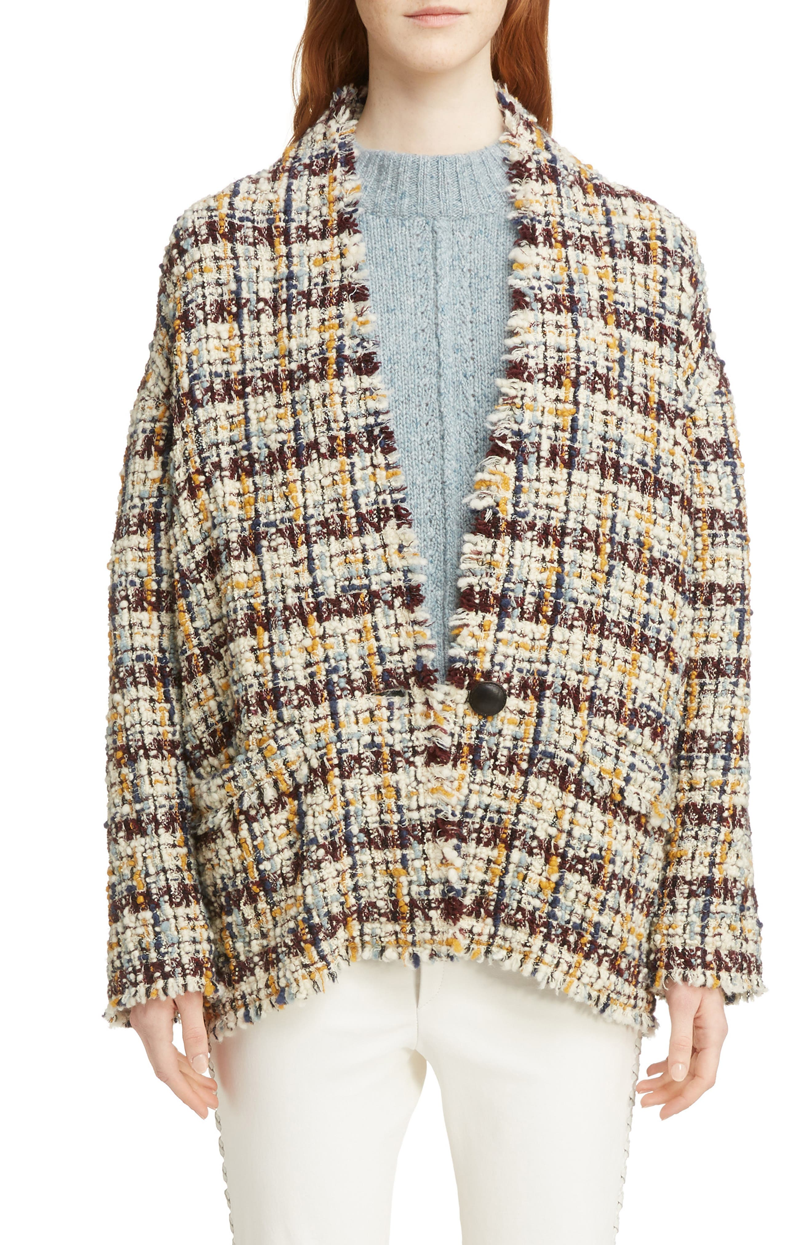Wool Blend Tweed Coat,                             Main thumbnail 1, color,                             MULTICOLOR