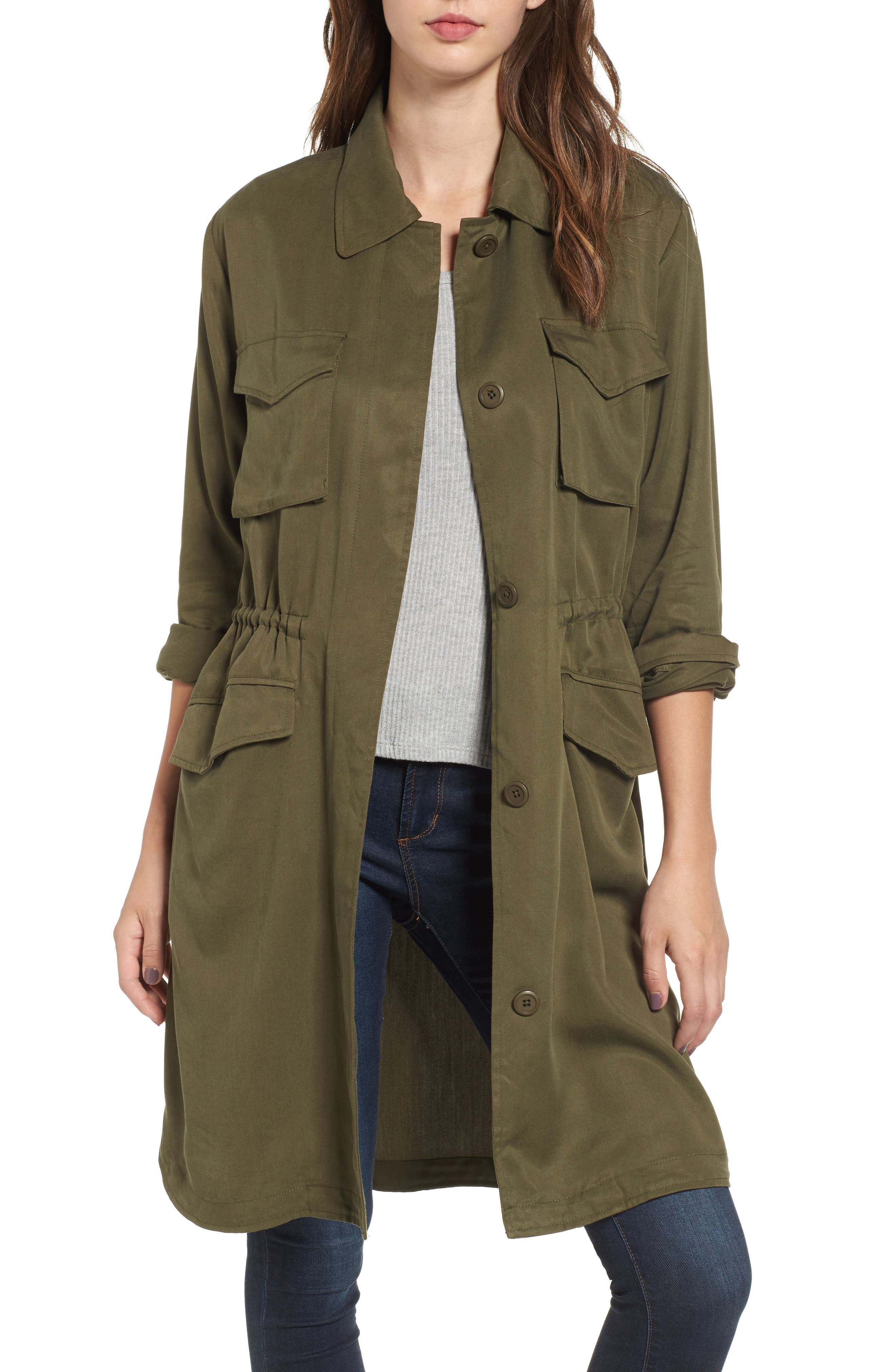 Averie Drawstring Waist Army Coat,                         Main,                         color,