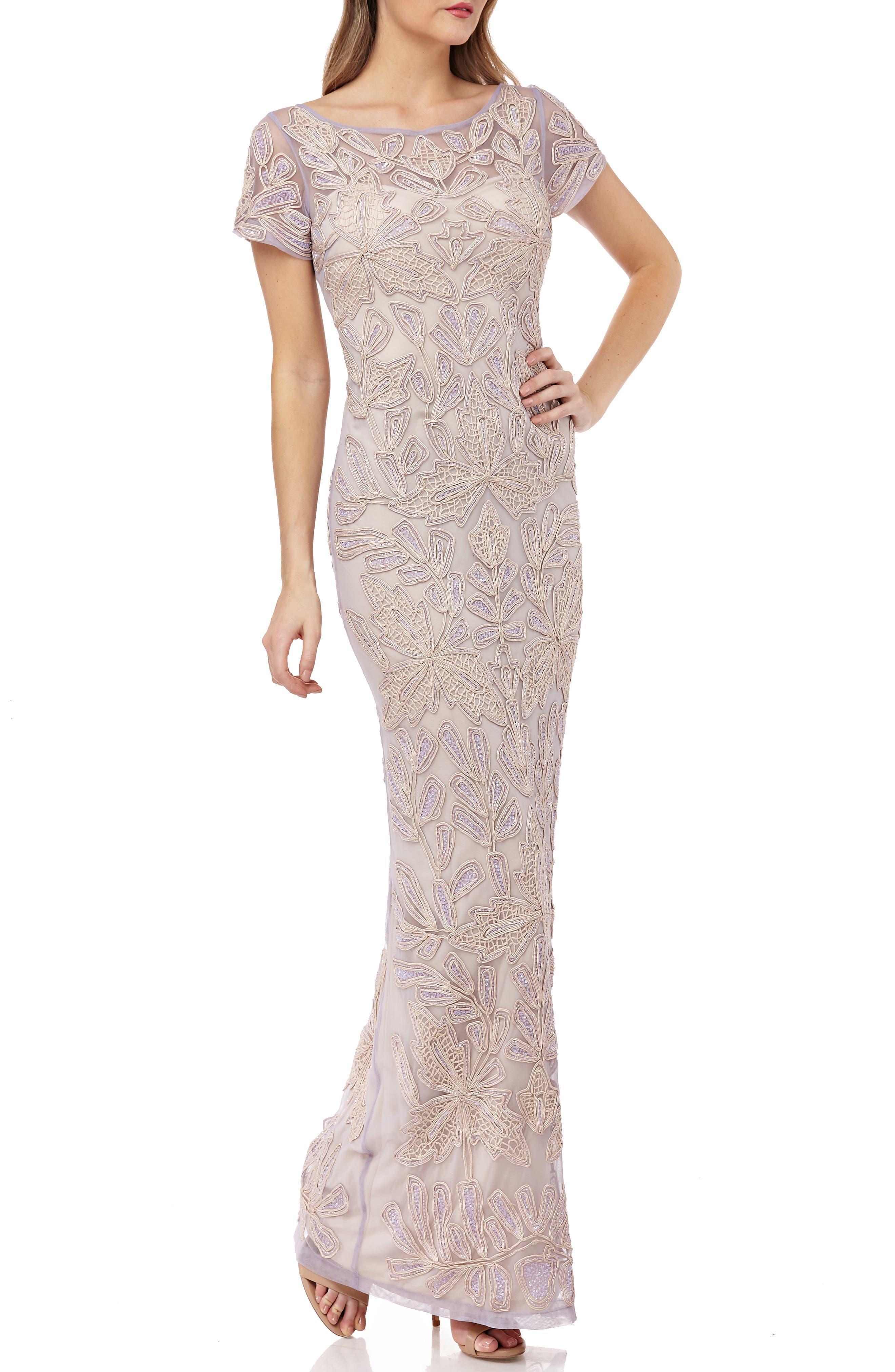Js Collections Beaded Soutache Evening Dress, Purple