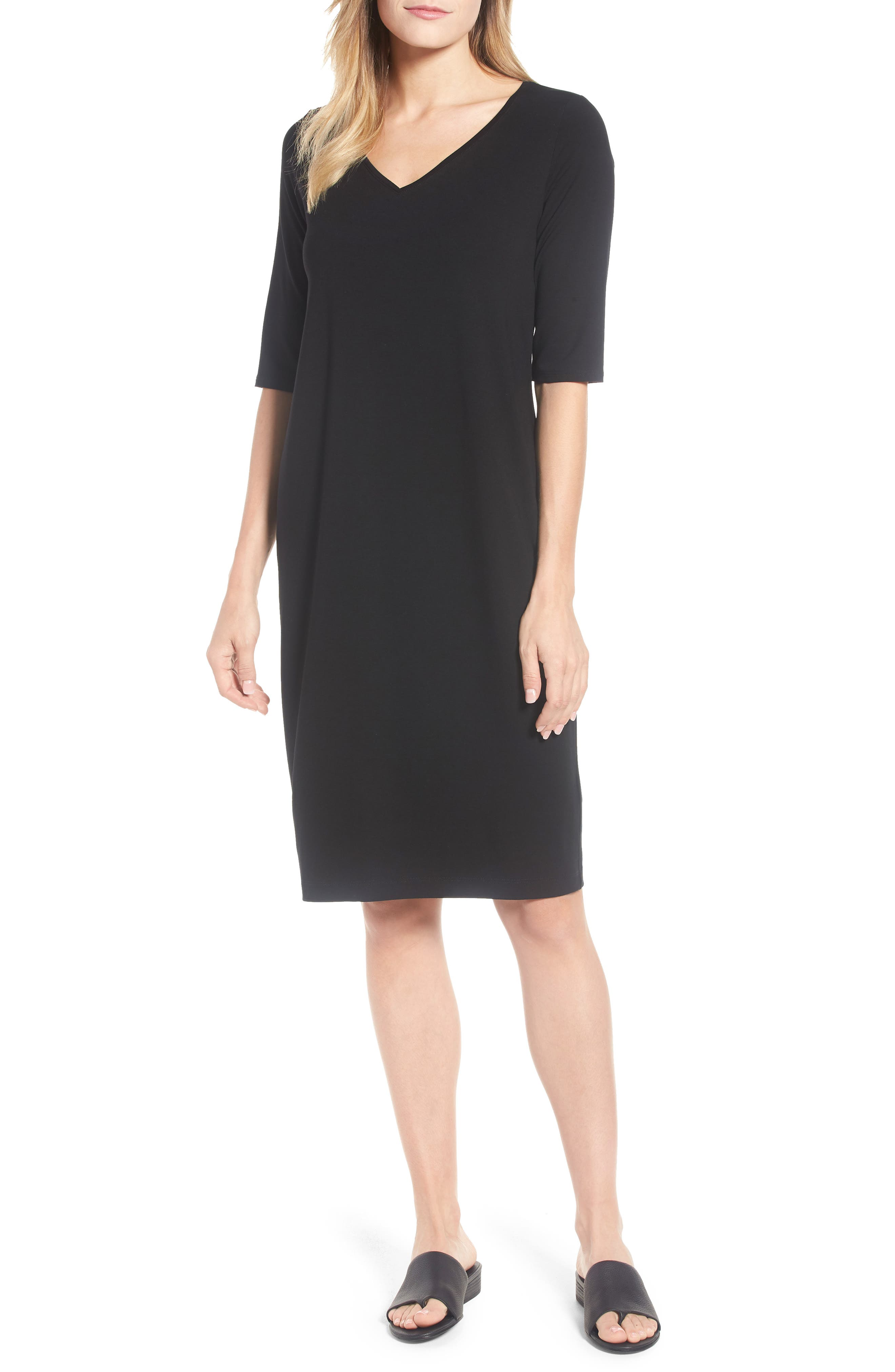 Stretch Jersey Shift Dress,                             Main thumbnail 1, color,                             001