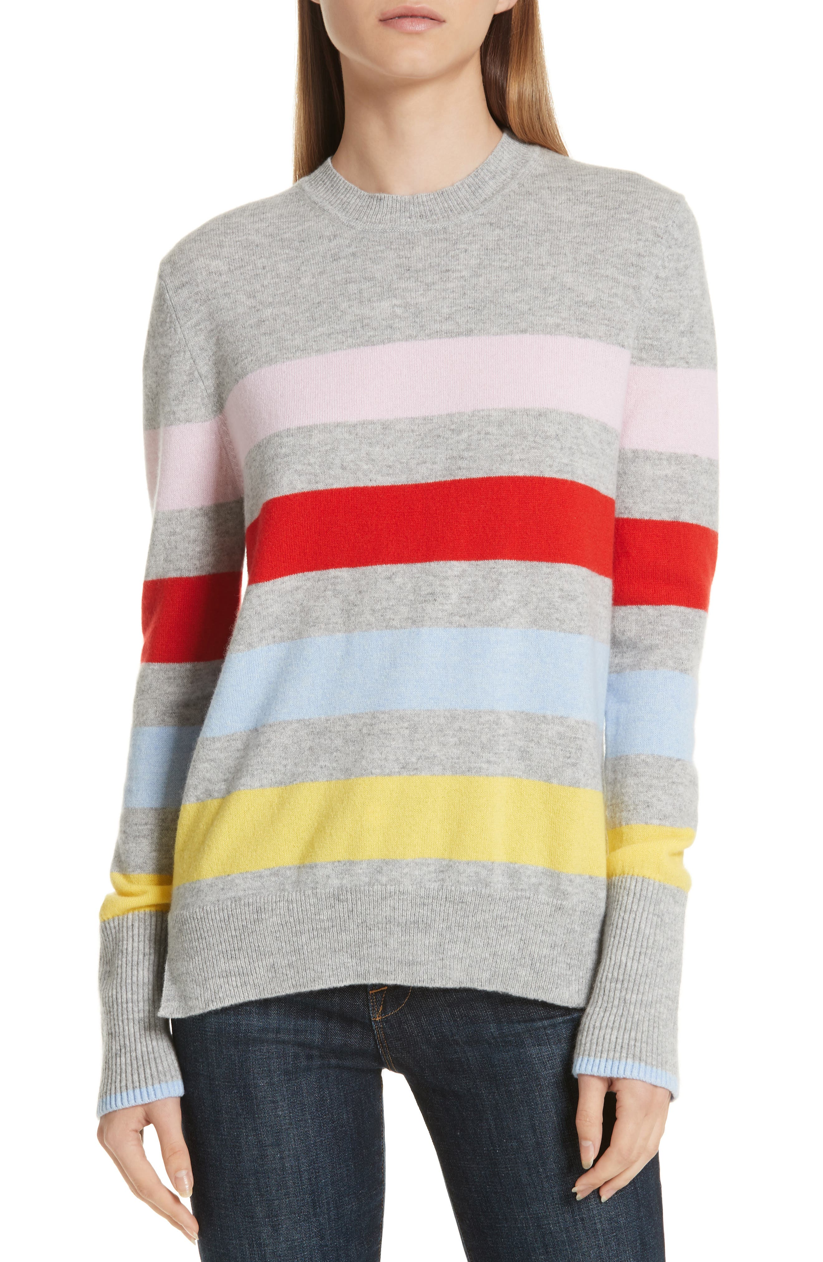 AAA Candy Stripe Cashmere Sweater,                         Main,                         color, 020