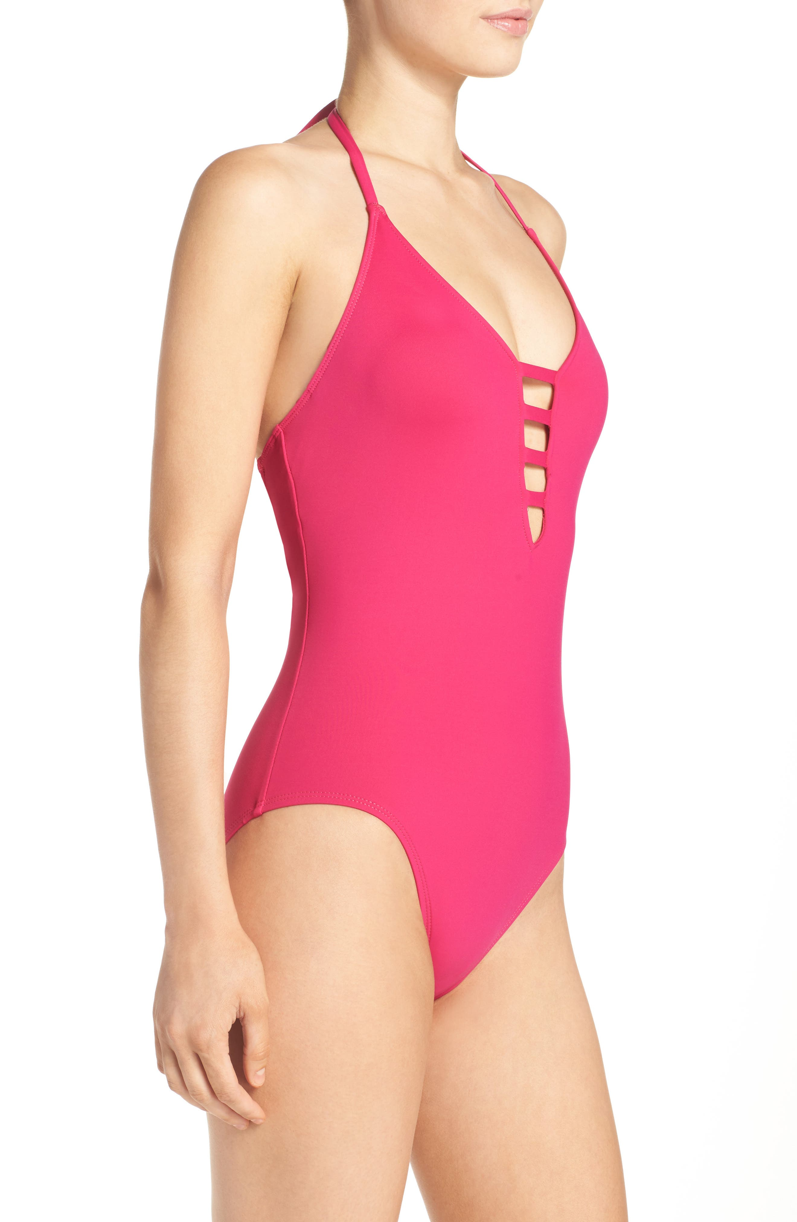 Caged Strap One-Piece Swimsuit,                             Alternate thumbnail 28, color,