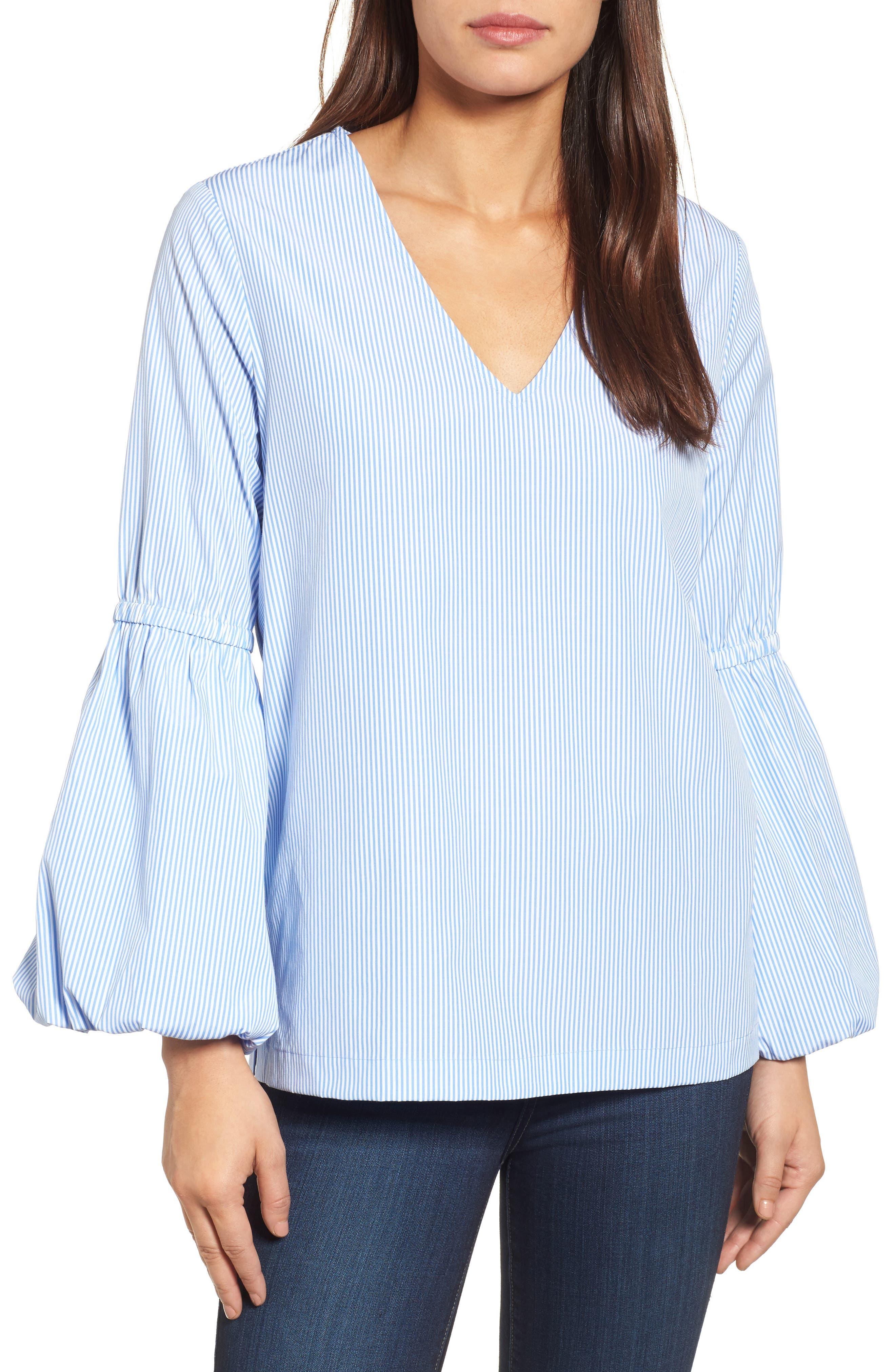 V-Neck Blouson Sleeve Top,                         Main,                         color, 400