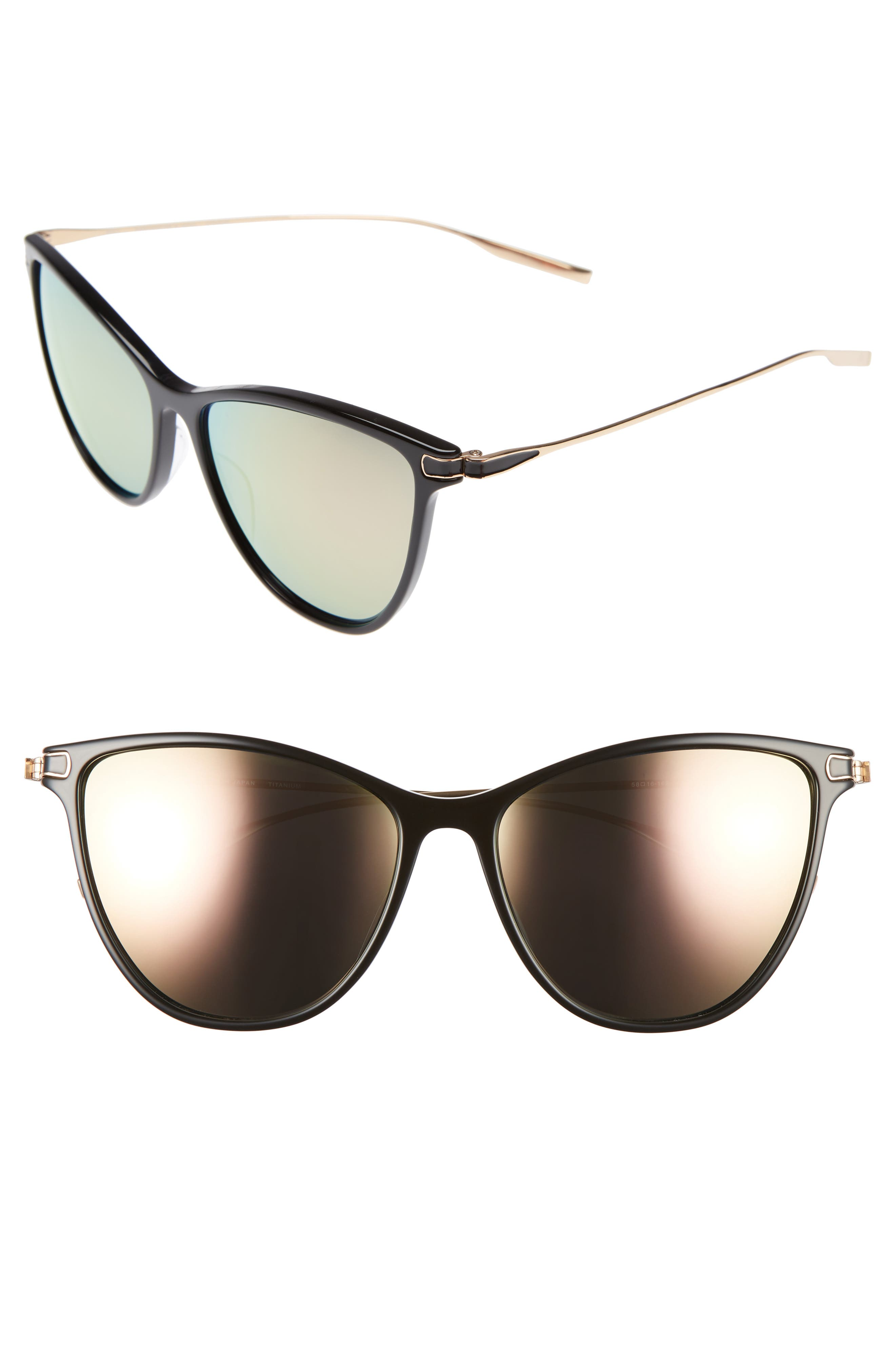 Nia 58mm Polarized Cat Eye Sunglasses,                         Main,                         color, 001