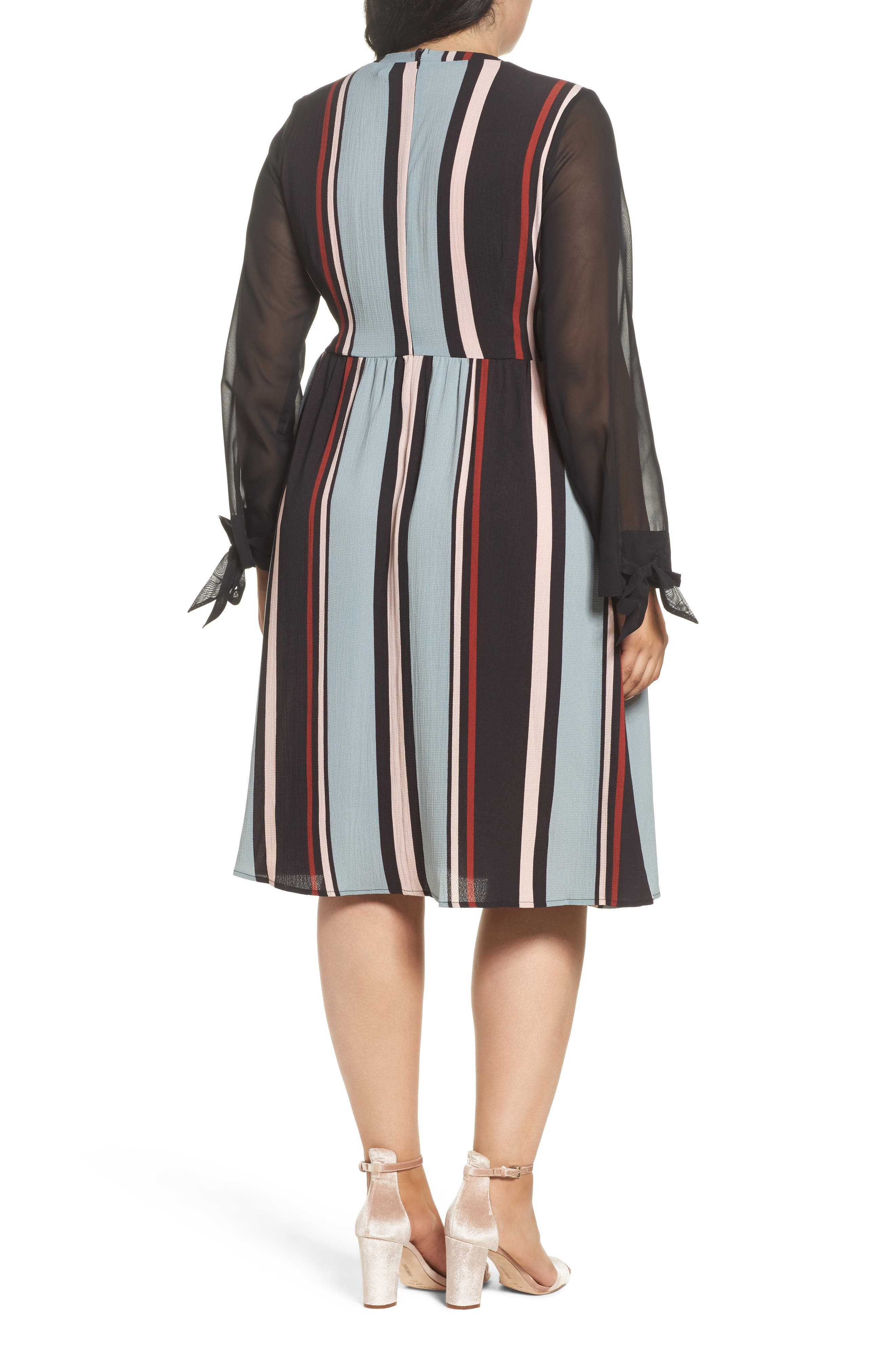 Stripe Fit & Flare Dress,                             Alternate thumbnail 2, color,                             001
