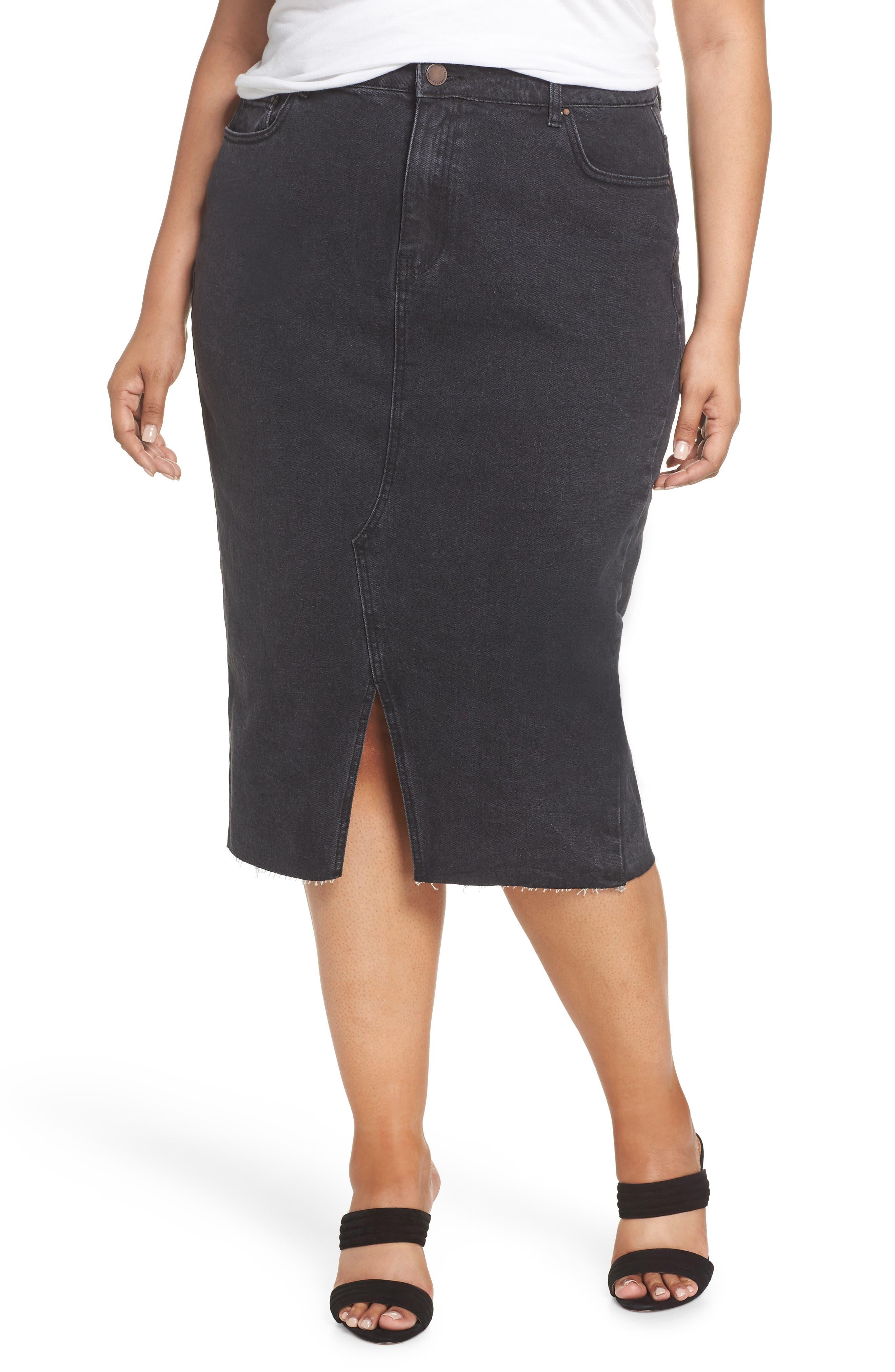 Denim Pencil Skirt,                             Main thumbnail 1, color,                             001