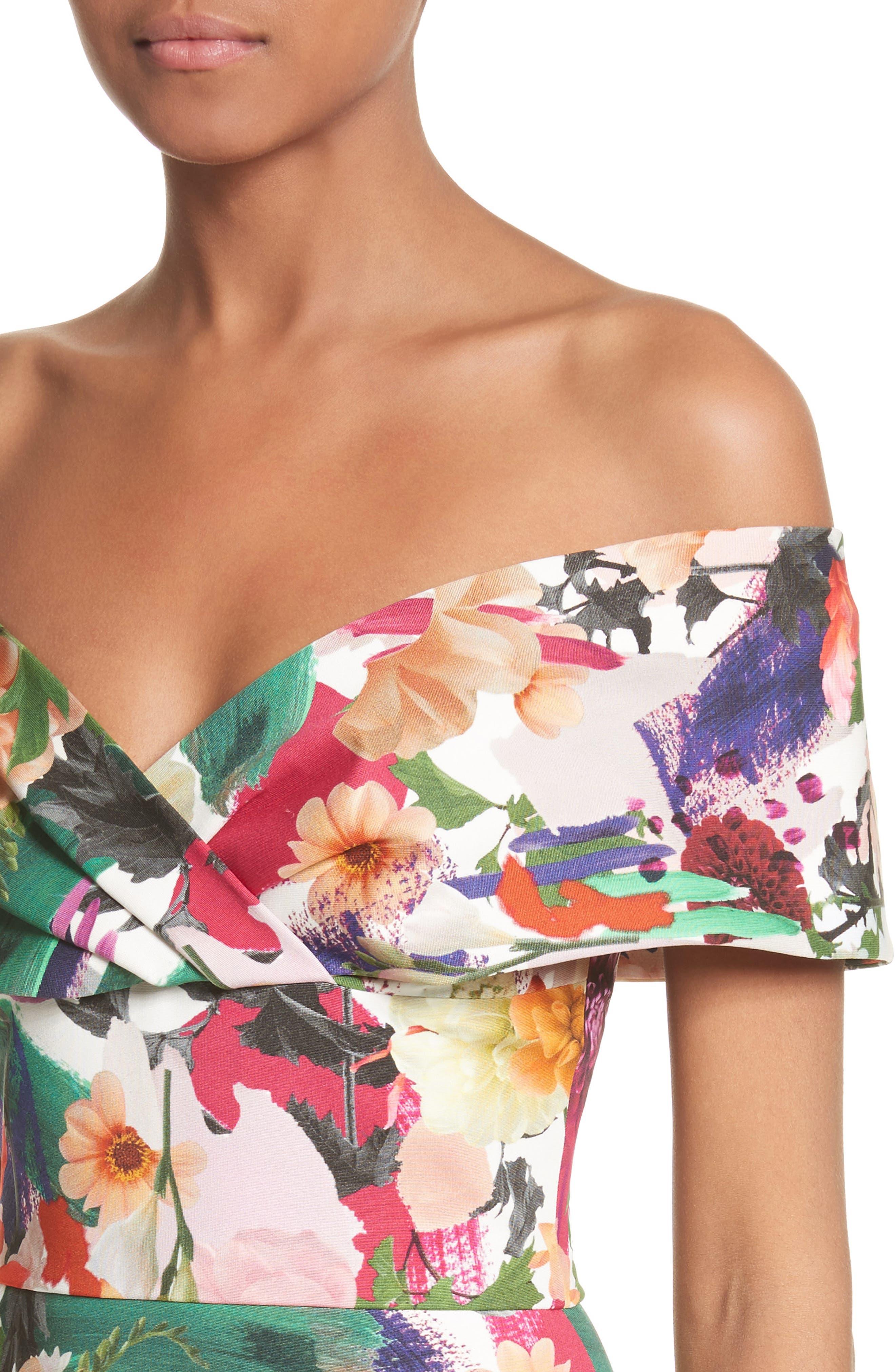 Floral Print Off the Shoulder Sheath Dress,                             Alternate thumbnail 4, color,                             191