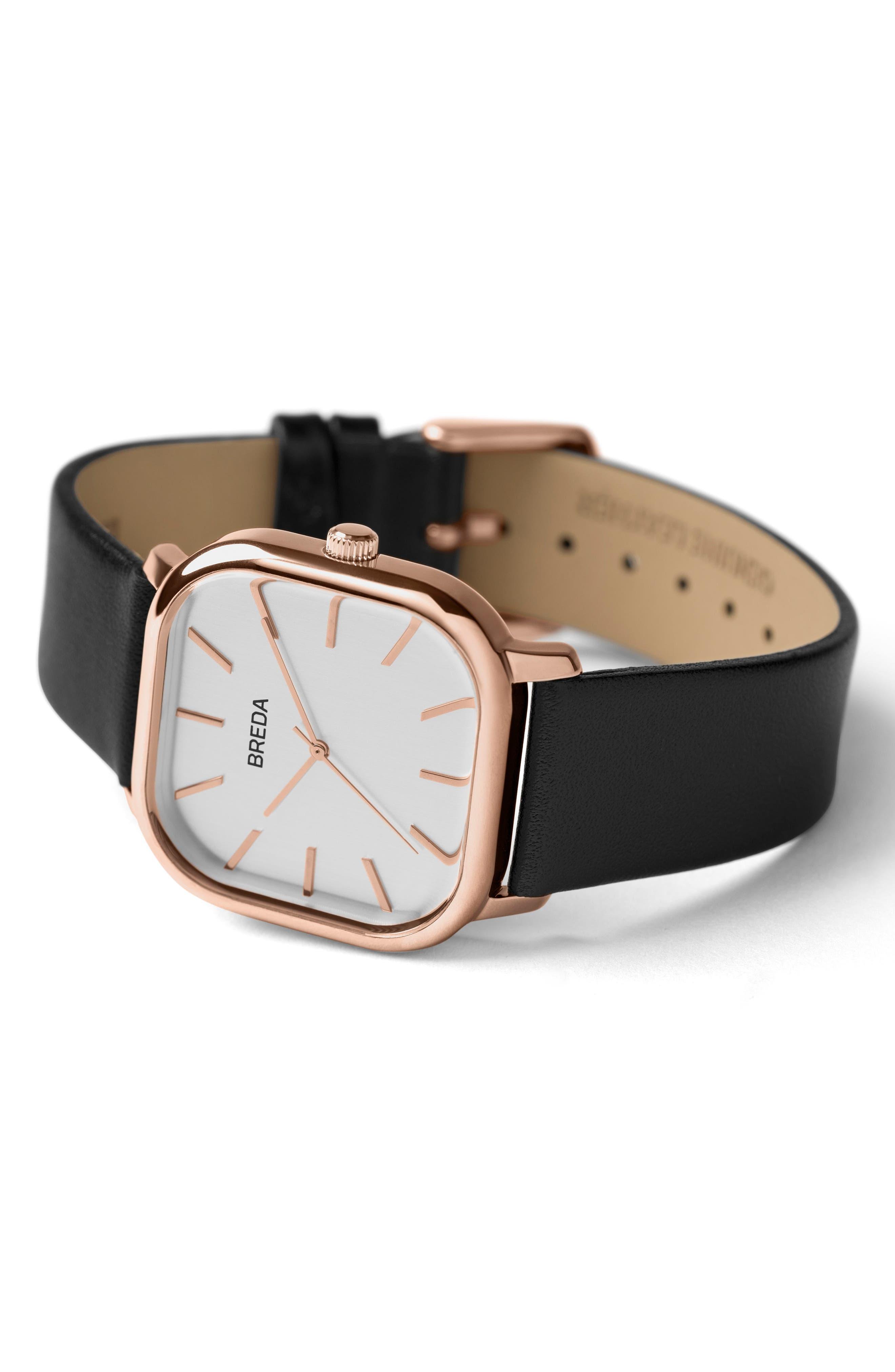 Visser Square Leather Strap Watch, 35mm,                             Alternate thumbnail 2, color,                             001