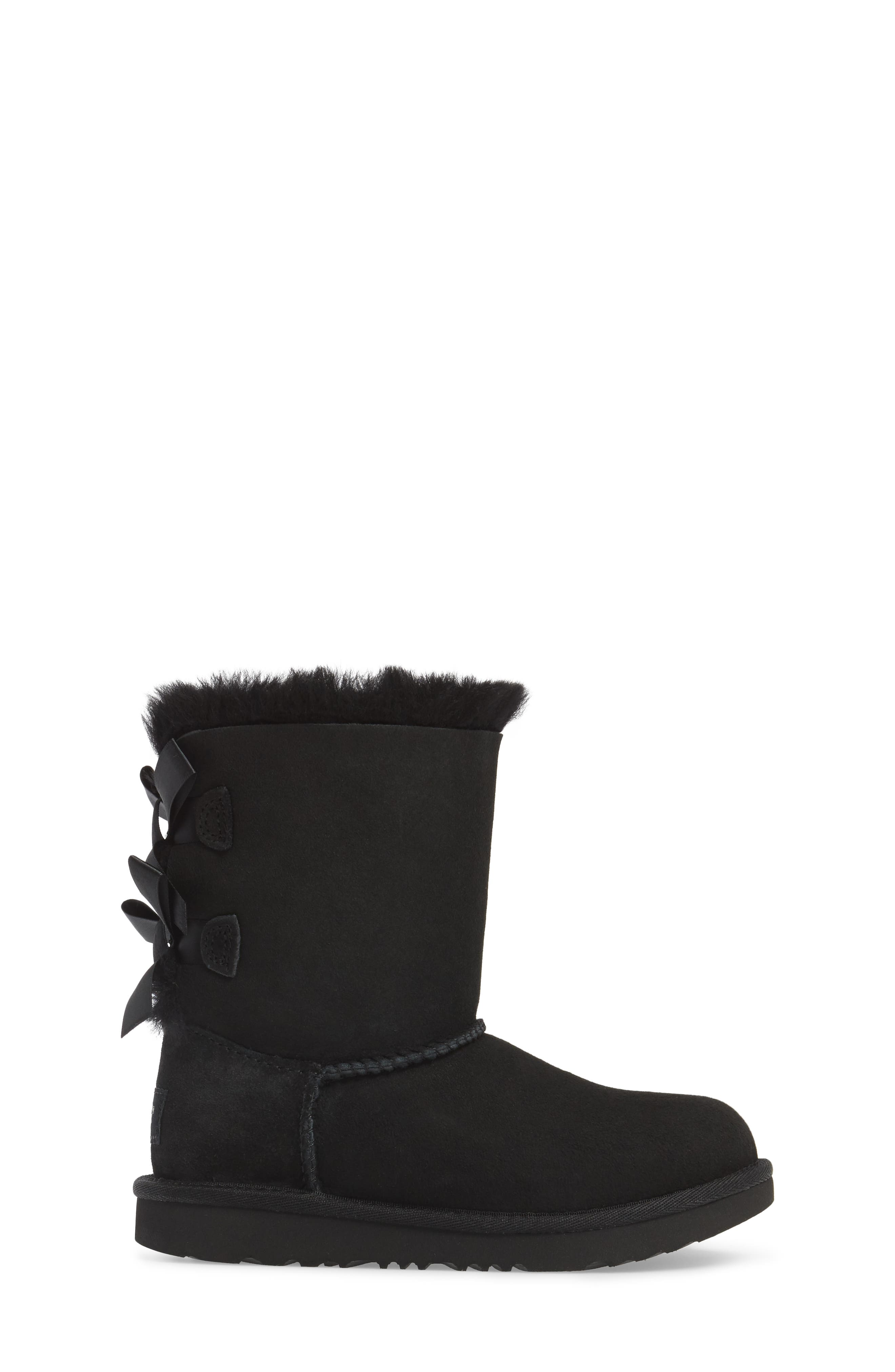 Bailey Bow II Water Resistant Genuine Shearling Boot,                             Alternate thumbnail 3, color,                             BLACK SUEDE