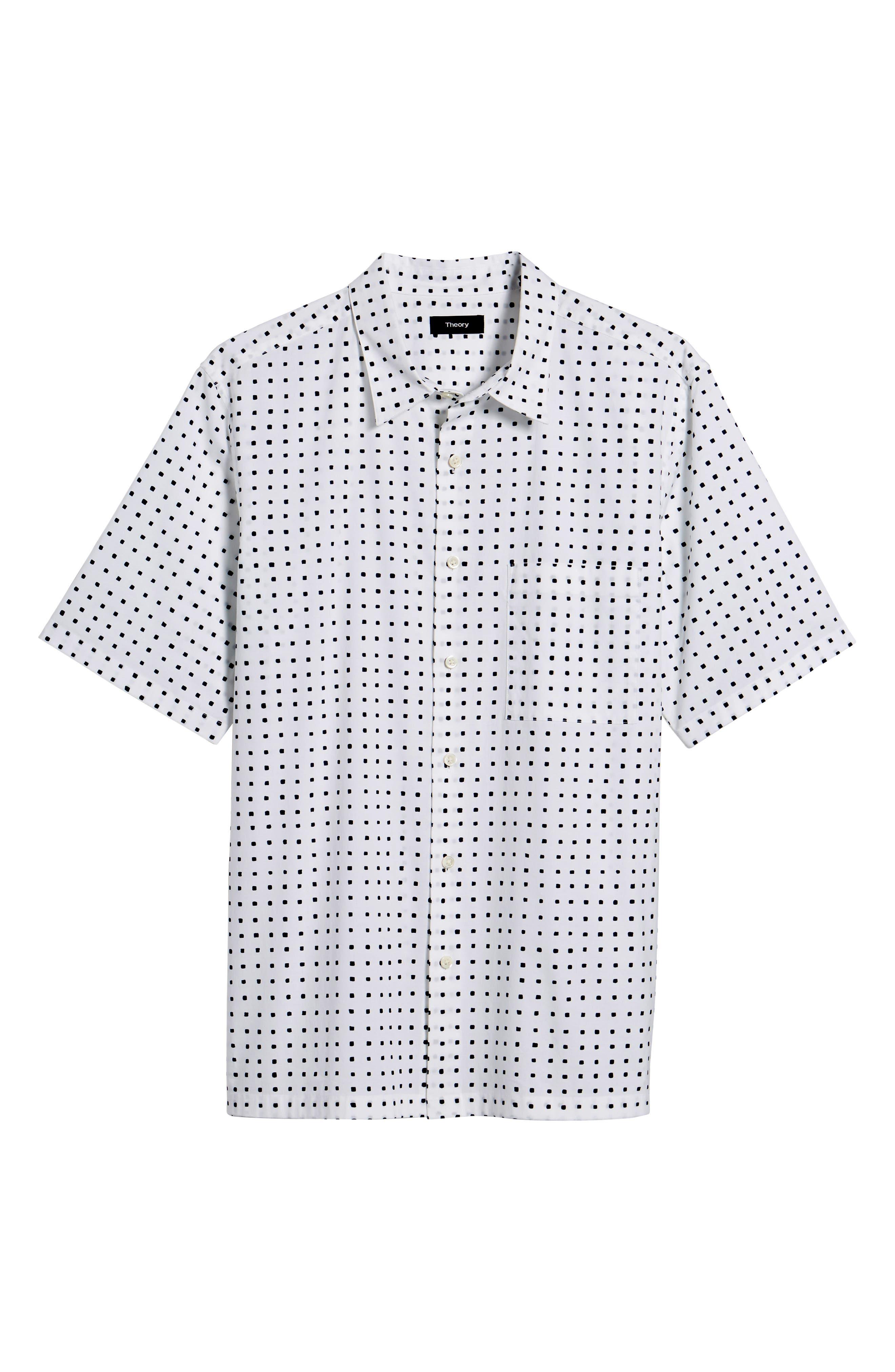 Bruner Trim Fit Dot Short Sleeve Sport Shirt,                             Alternate thumbnail 6, color,                             110