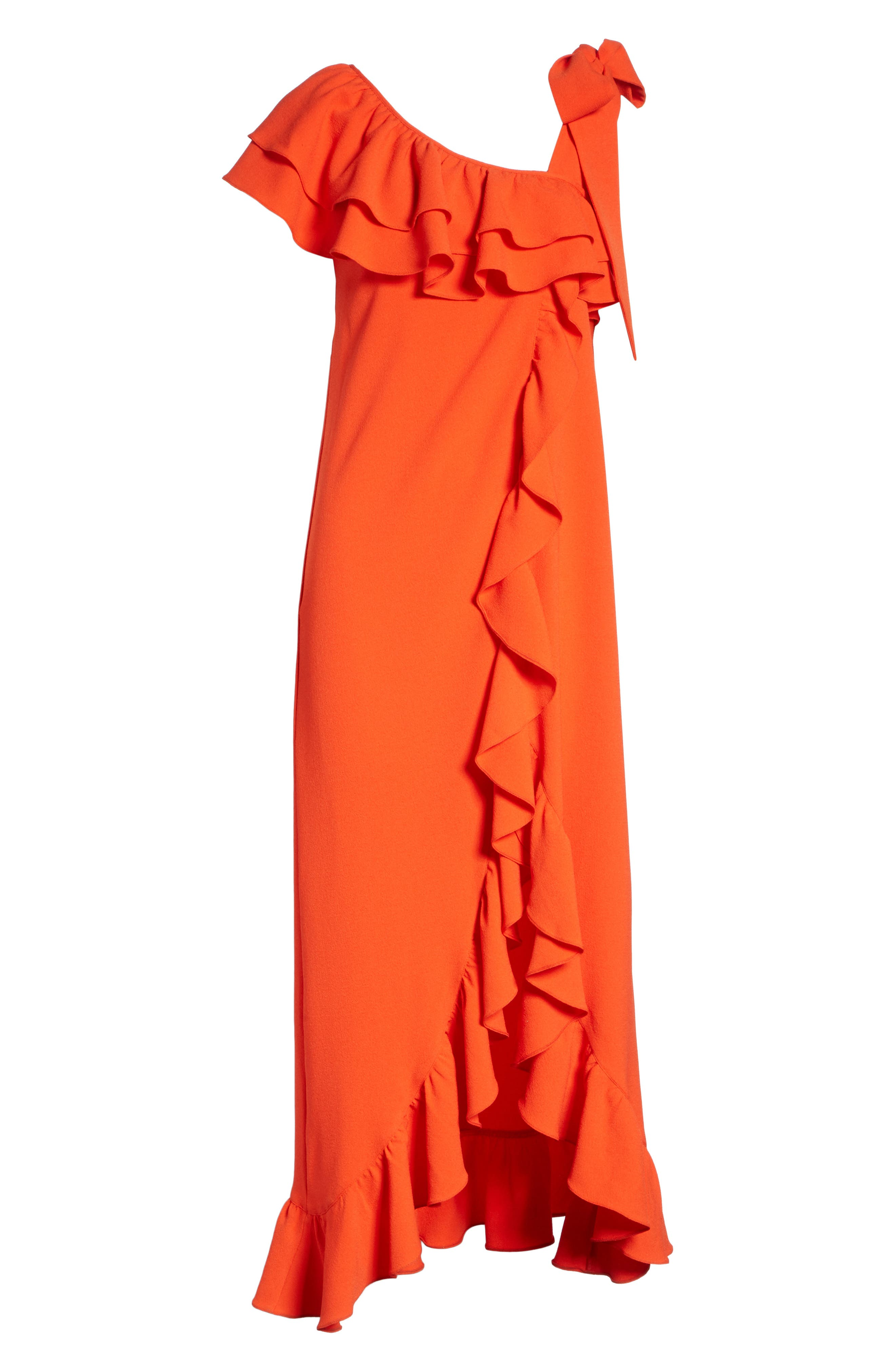Clark Ruffle Maxi Dress,                             Alternate thumbnail 6, color,                             BIG APPLE RED