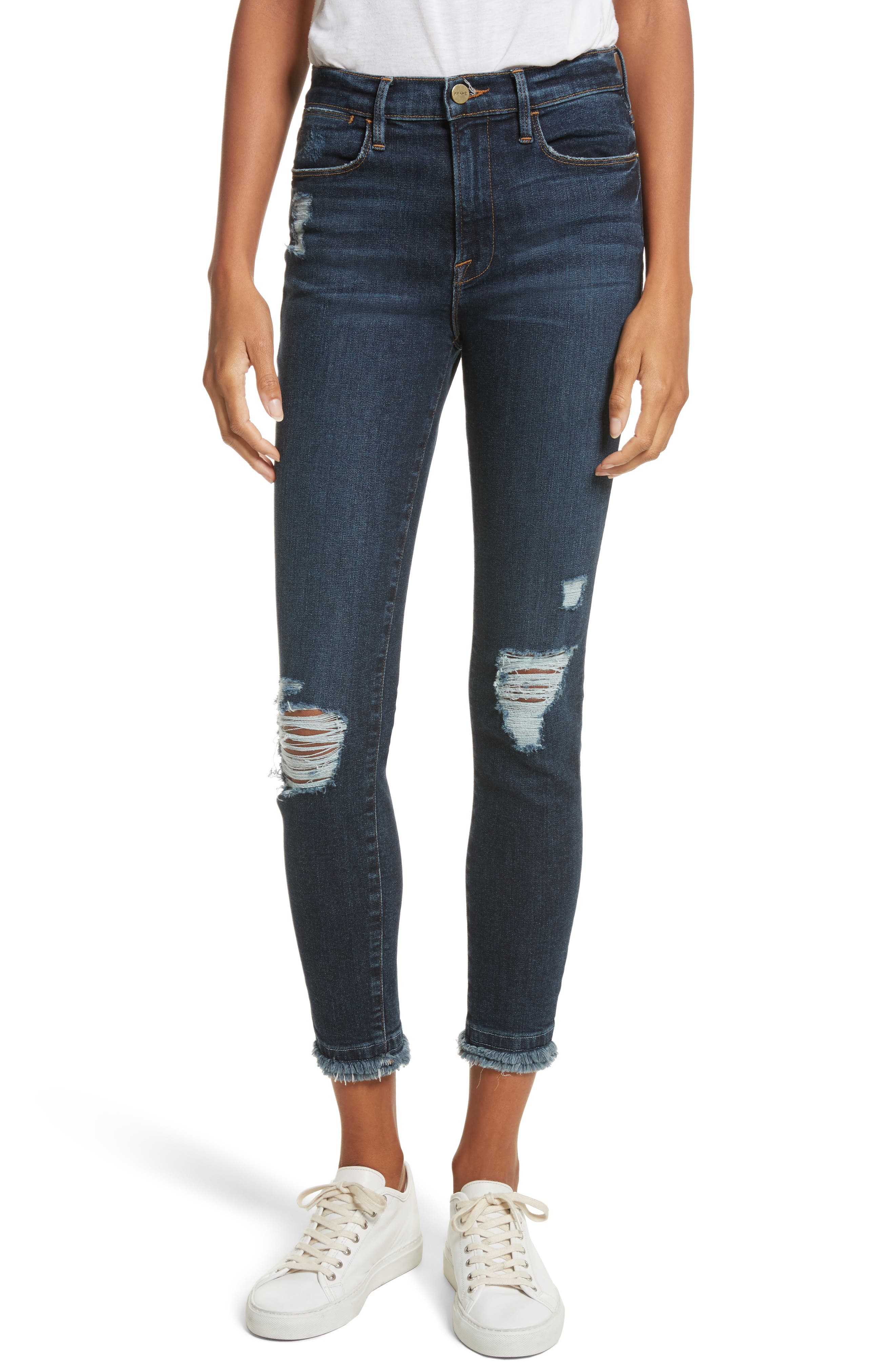 Le High High Waist Ankle Skinny Jeans,                         Main,                         color, 401