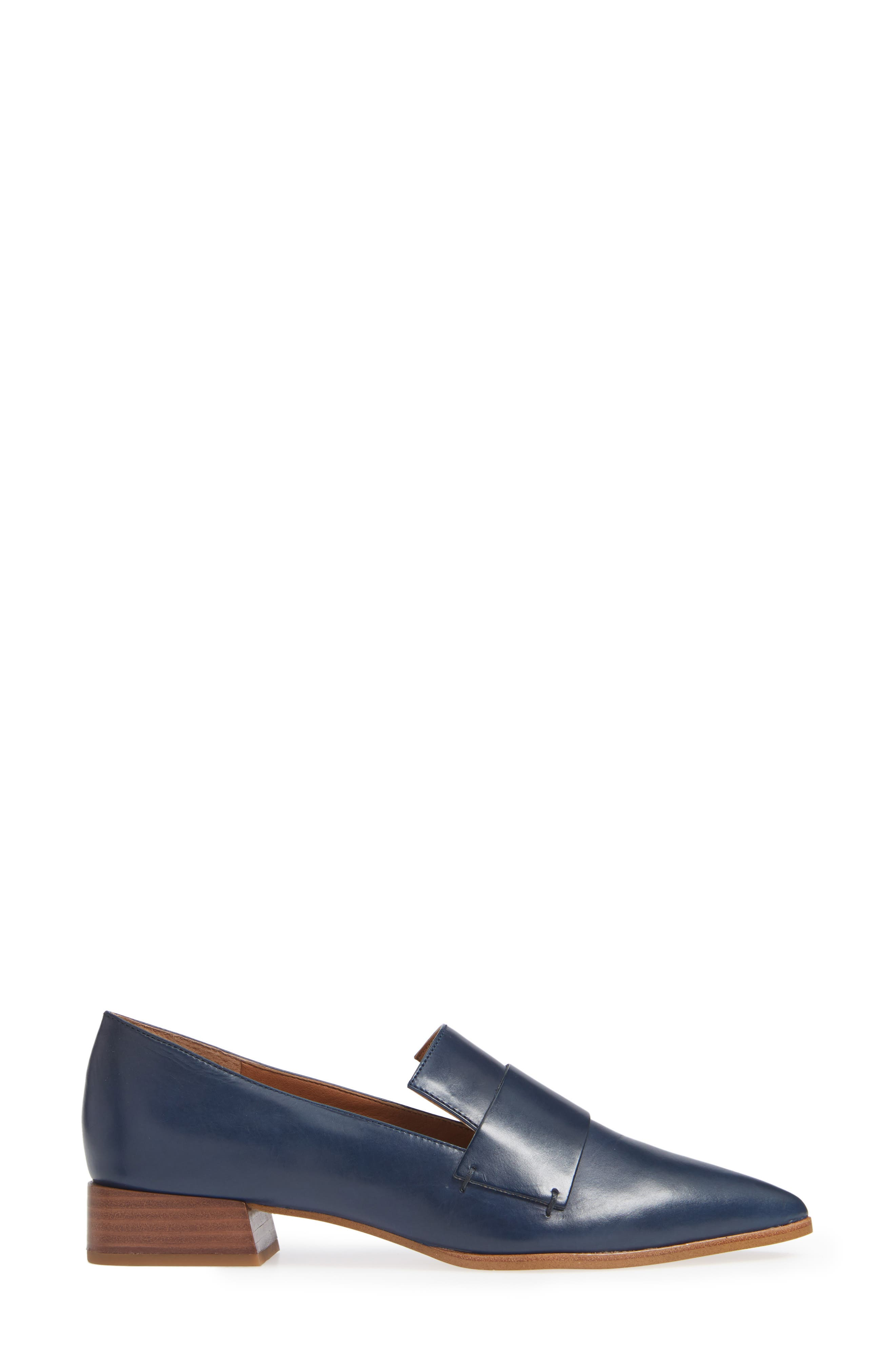 Nebby 2 Pointy Toe Loafer,                             Alternate thumbnail 3, color,                             NAVY LEATHER