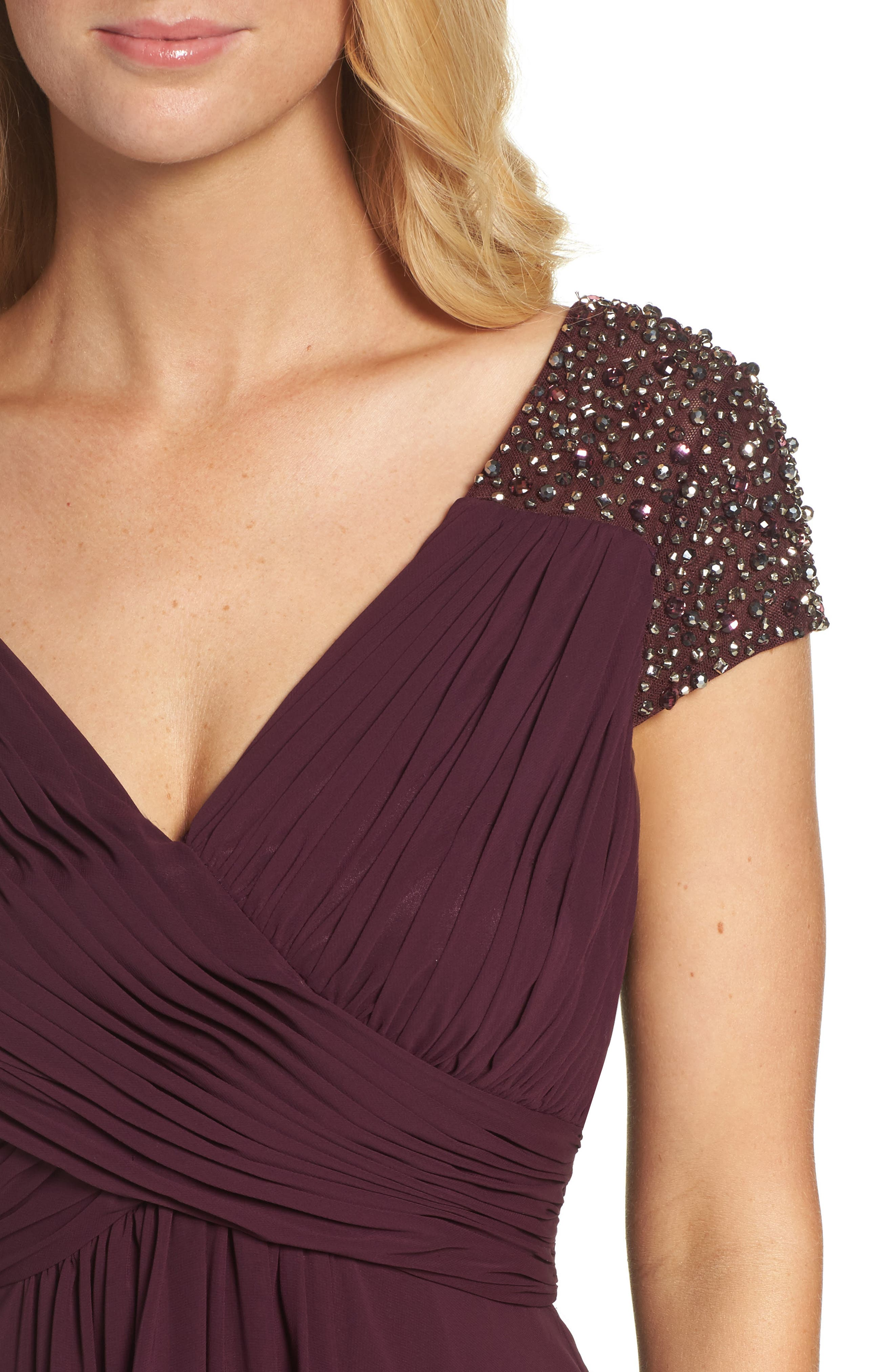 Embellished Pleated Chiffon Gown,                             Alternate thumbnail 12, color,