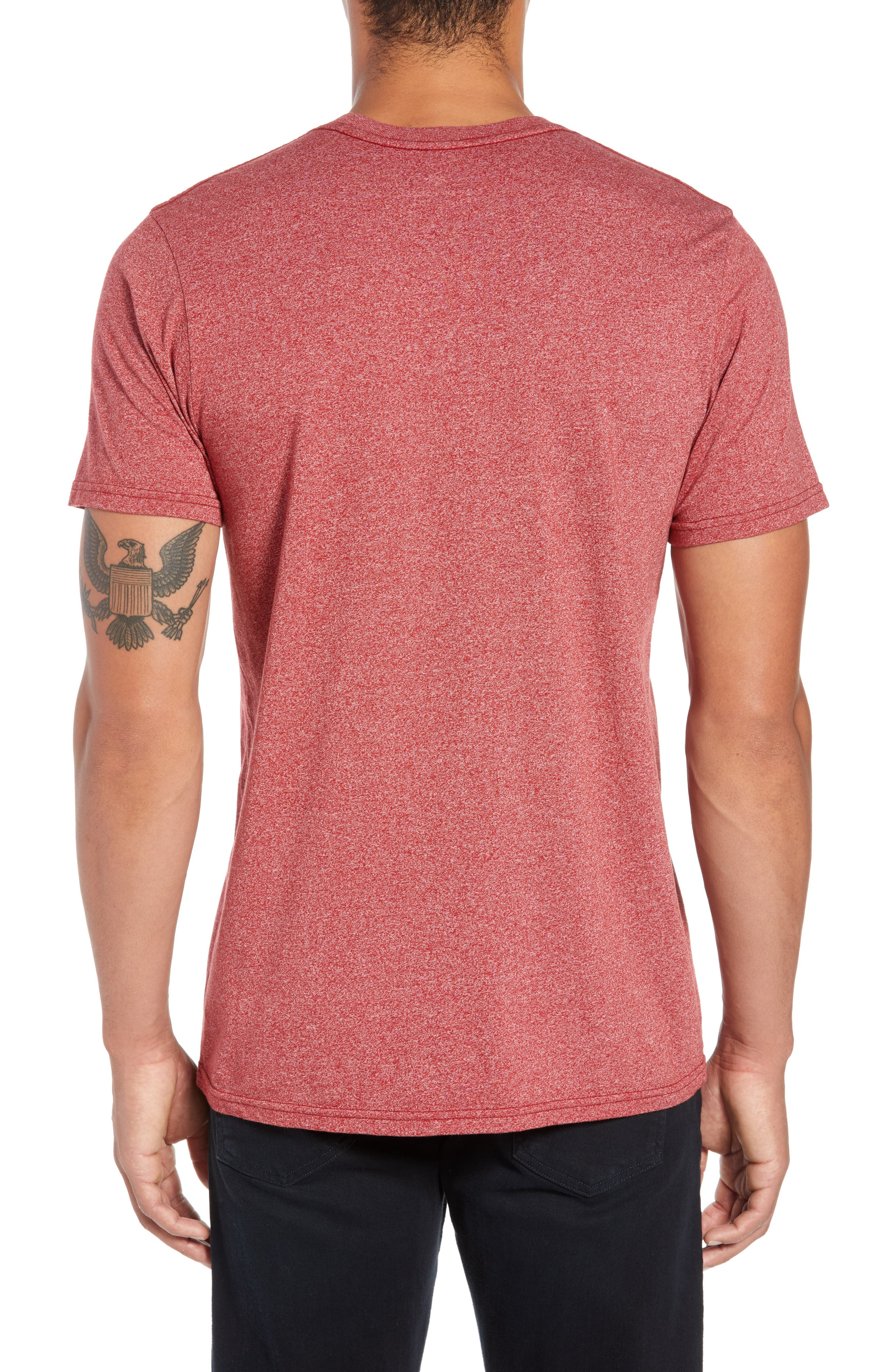 Summer Days Mock Twist T-Shirt,                             Alternate thumbnail 2, color,                             RED HEATHER