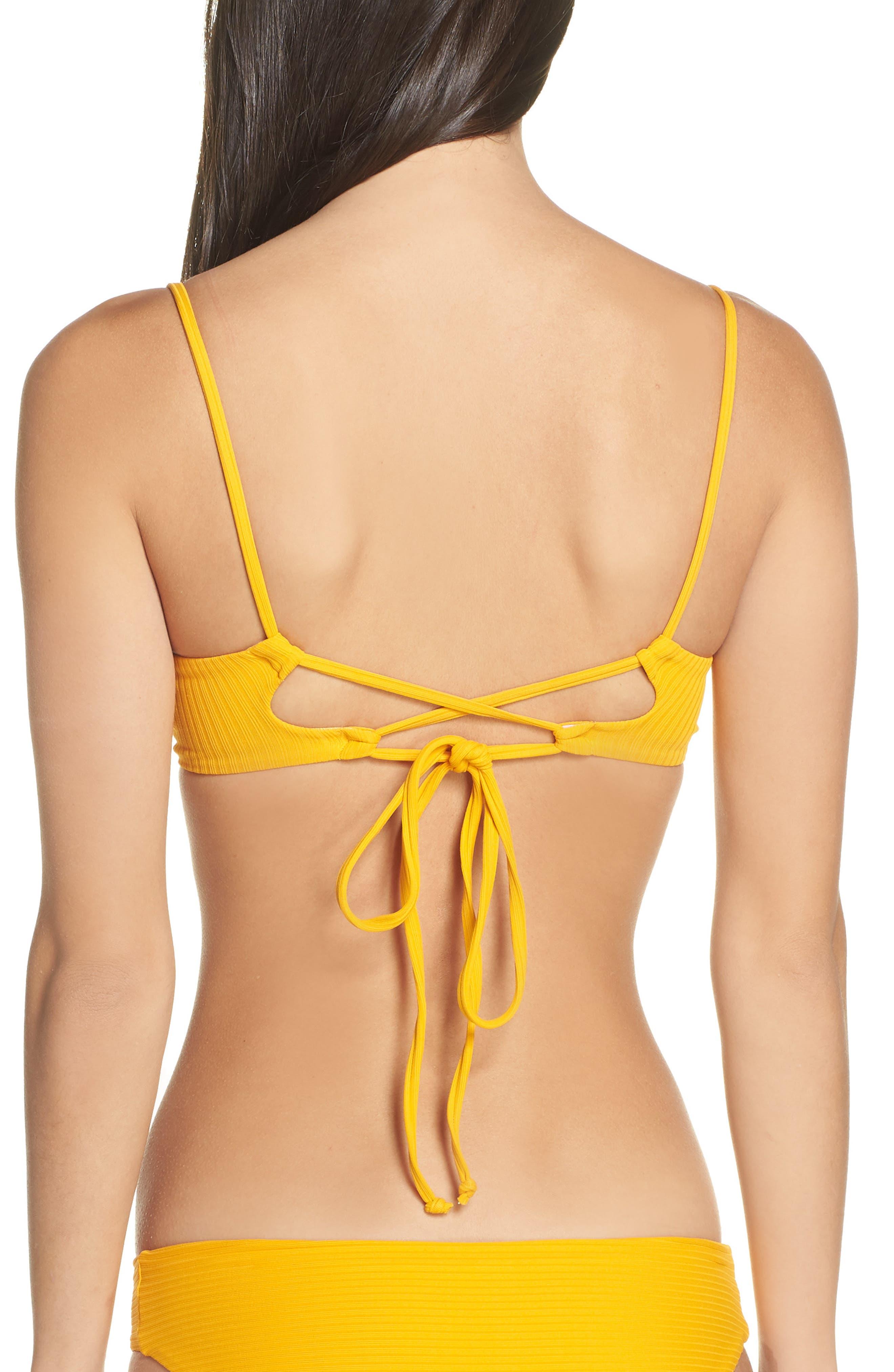 Farrahs Lovely Ribbed Reversible Bikini Top,                             Alternate thumbnail 2, color,                             FARRAHS YELLOW RIB