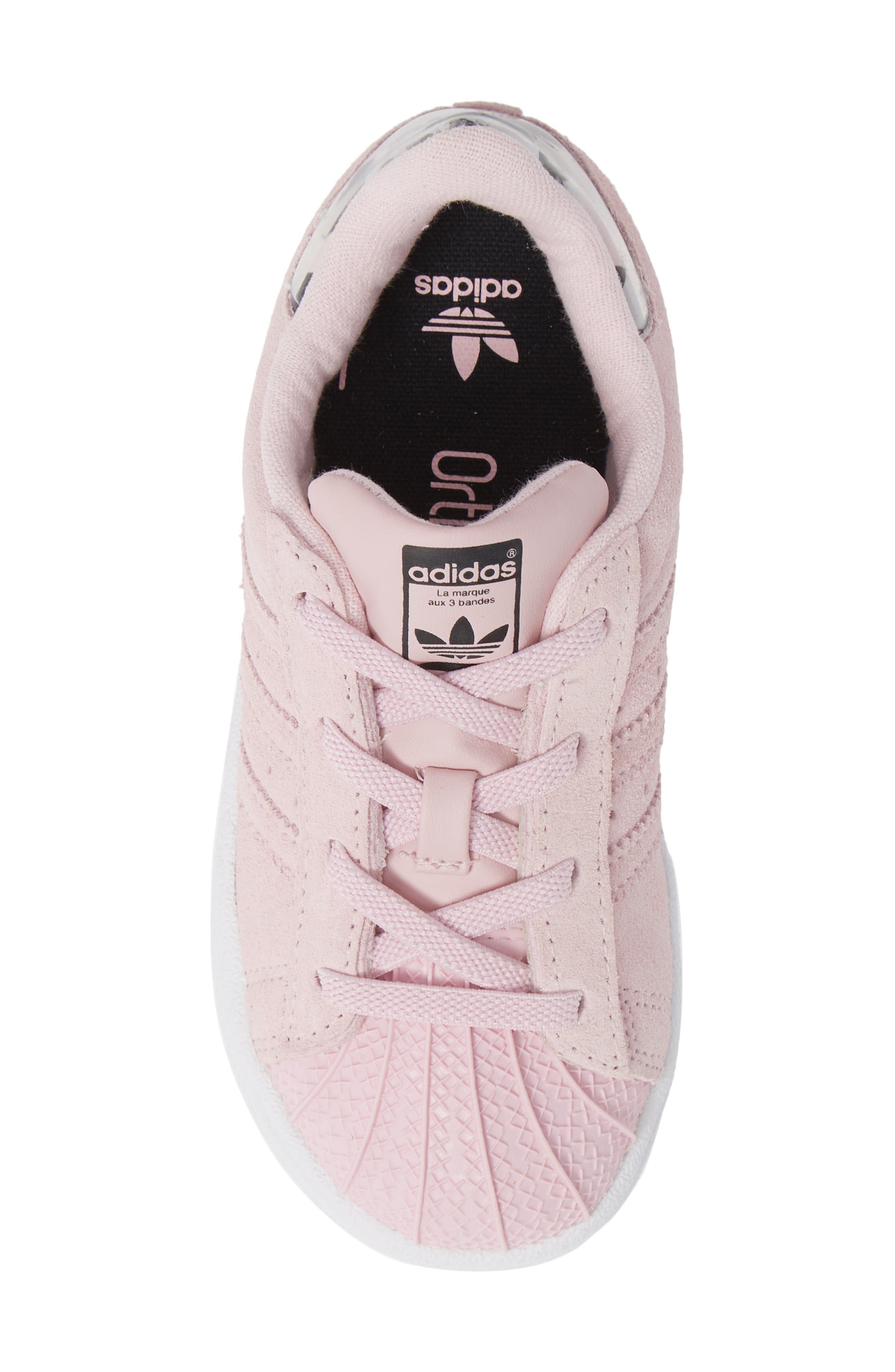 Superstar Low Top Sneaker,                             Alternate thumbnail 5, color,                             CLEAR PINK/ WHITE
