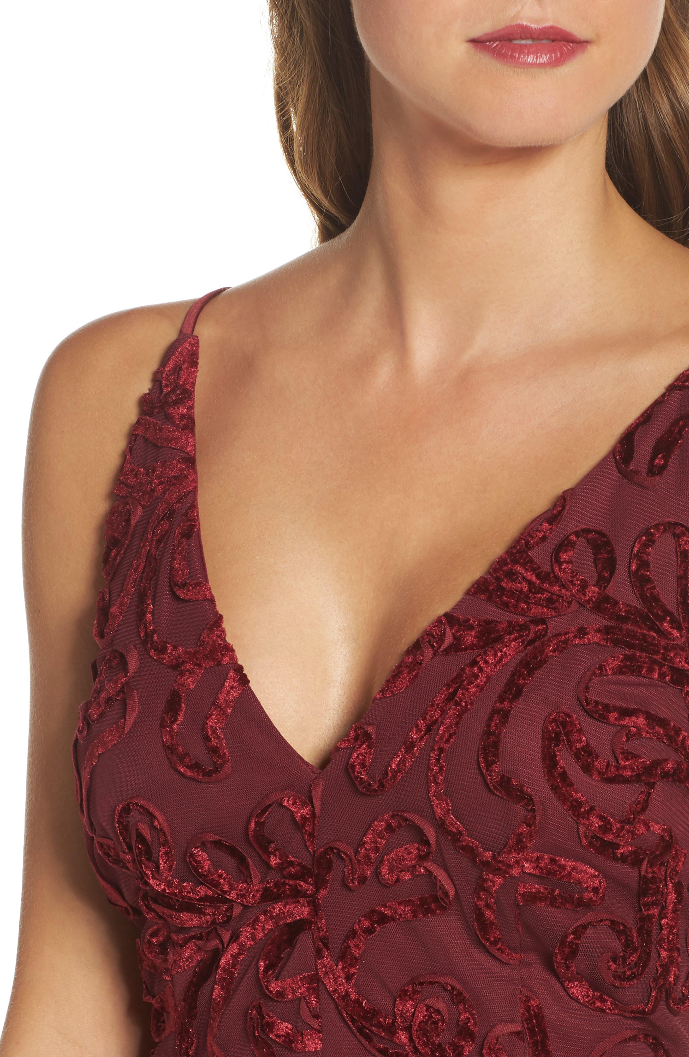 Flocked Velvet Gown,                             Alternate thumbnail 4, color,                             600