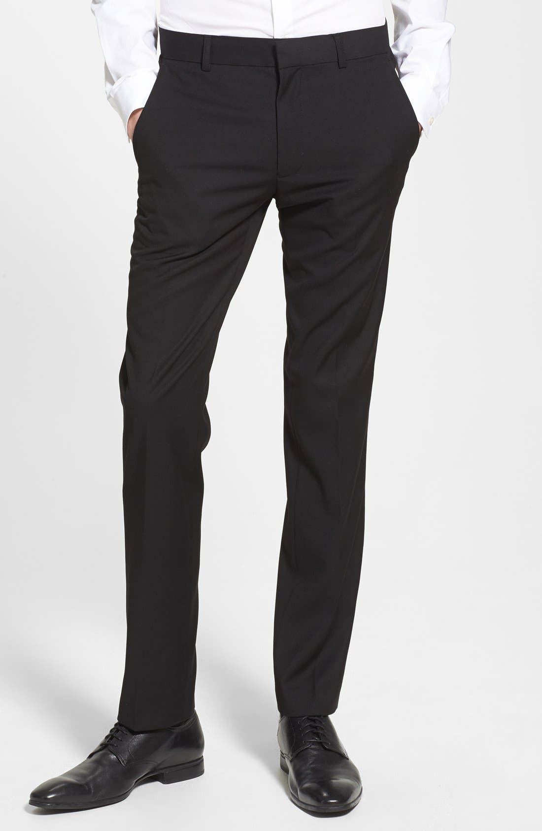 Black Textured Skinny Fit Flat Front Trousers,                             Main thumbnail 1, color,                             001