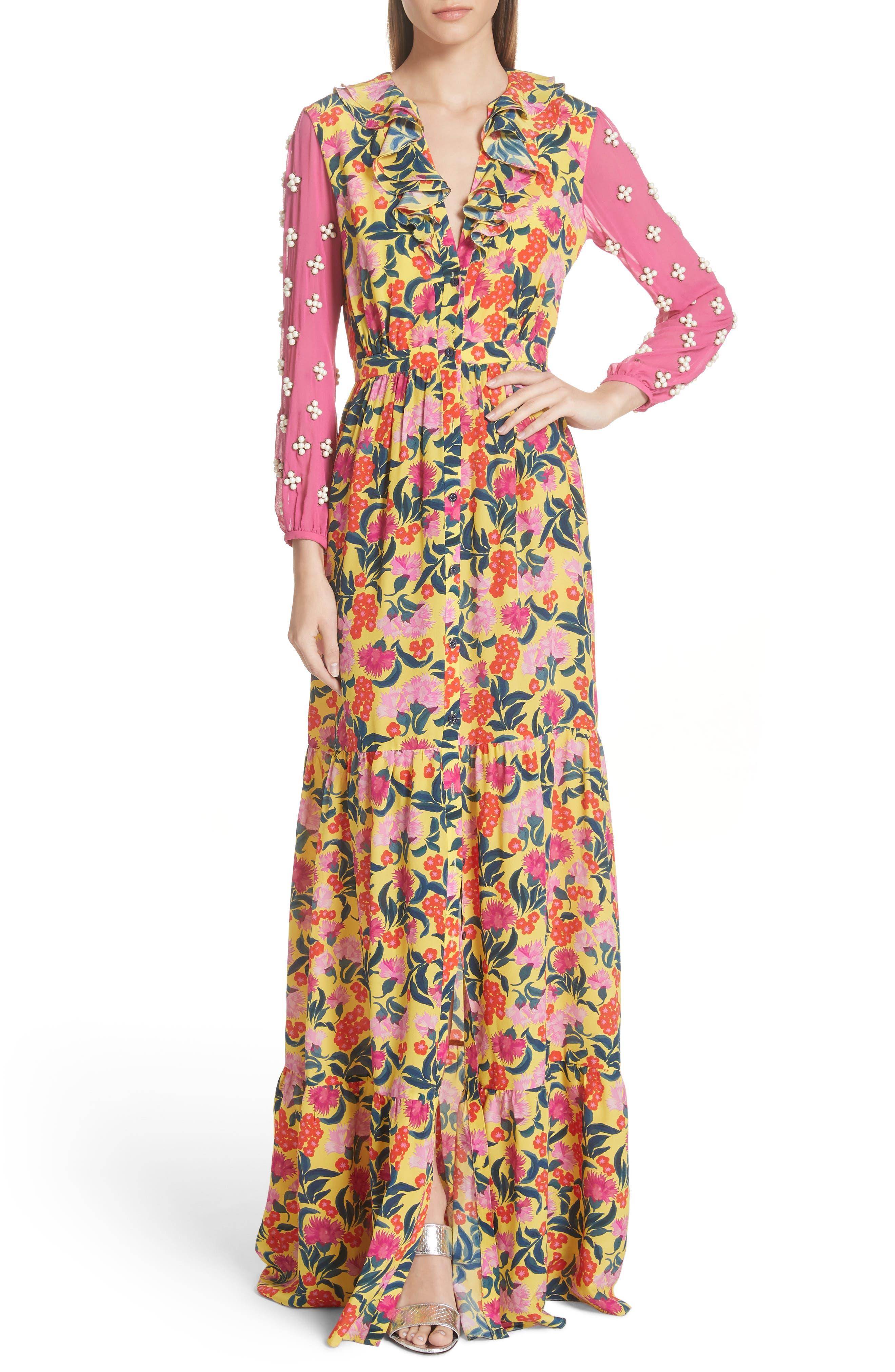 SALONI,                             Ginny Floral Print Embellished Sleeve Silk Dress,                             Main thumbnail 1, color,                             720
