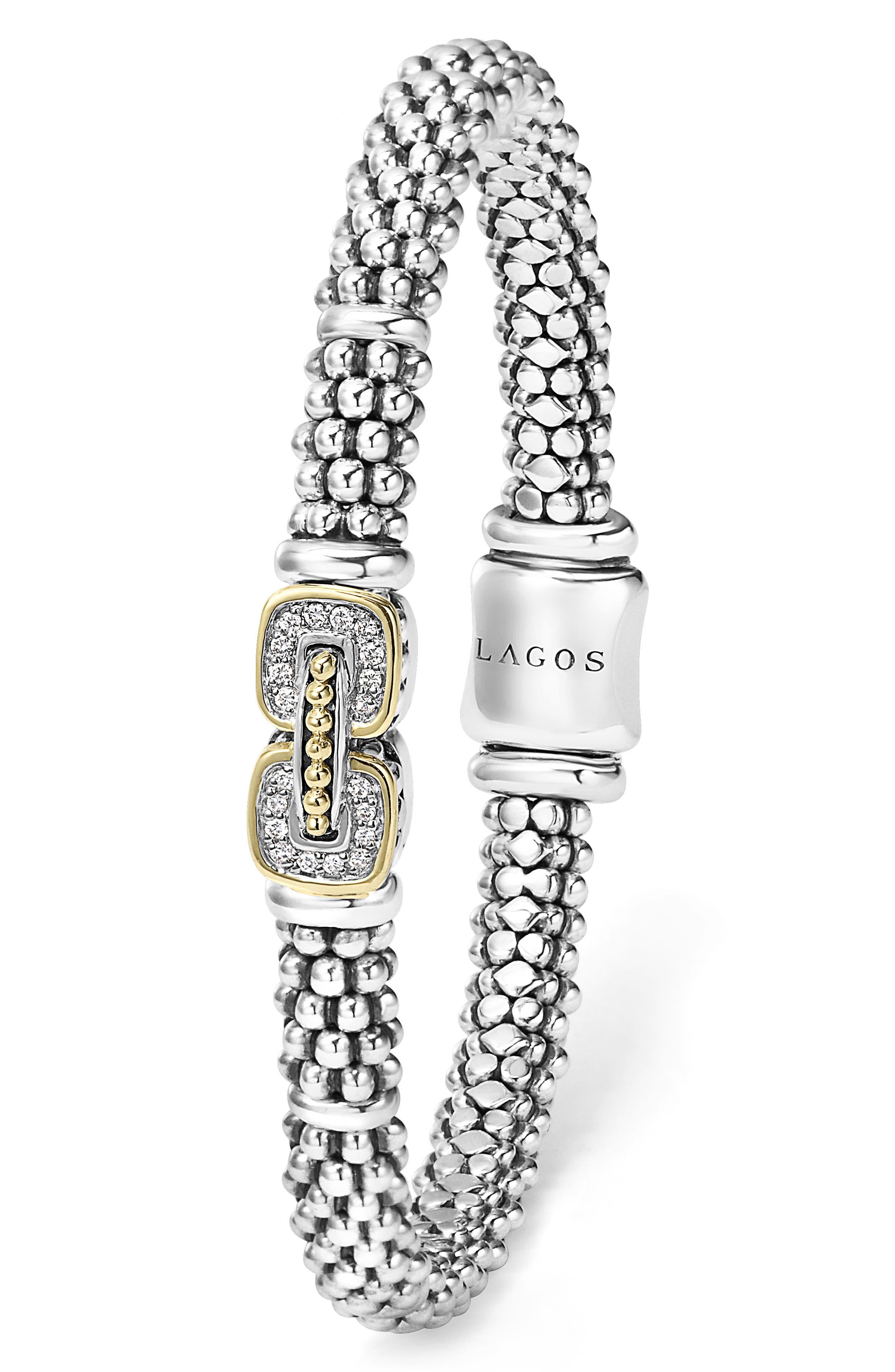 Caviar Cushion Diamond Station Bracelet,                             Alternate thumbnail 2, color,                             SILVER/ GOLD