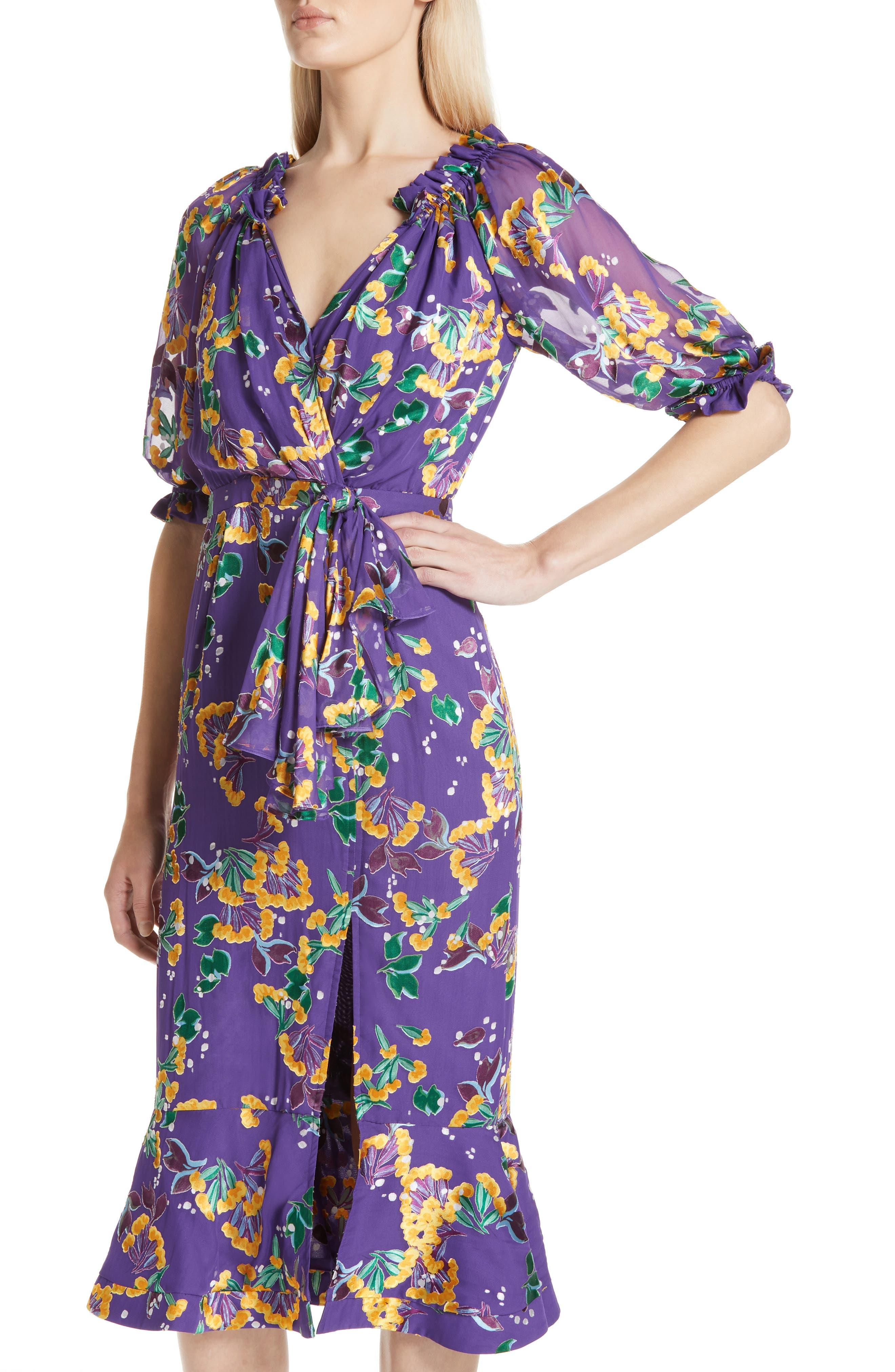 Olivia Silk Blend Midi Dress,                             Alternate thumbnail 4, color,                             VIOLET SWEETPEAS