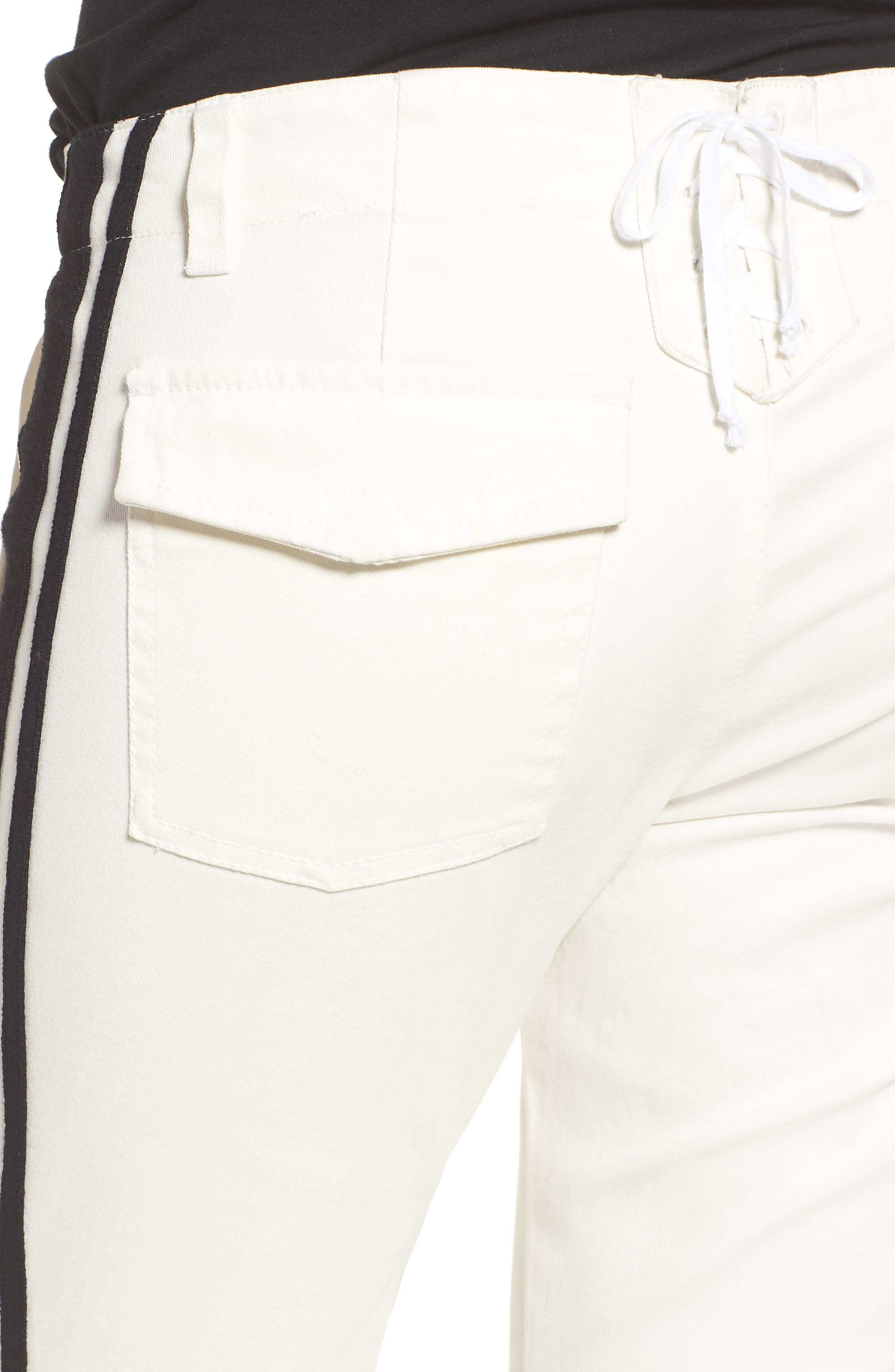 Offset Skinny Pants,                             Alternate thumbnail 4, color,                             WHITE
