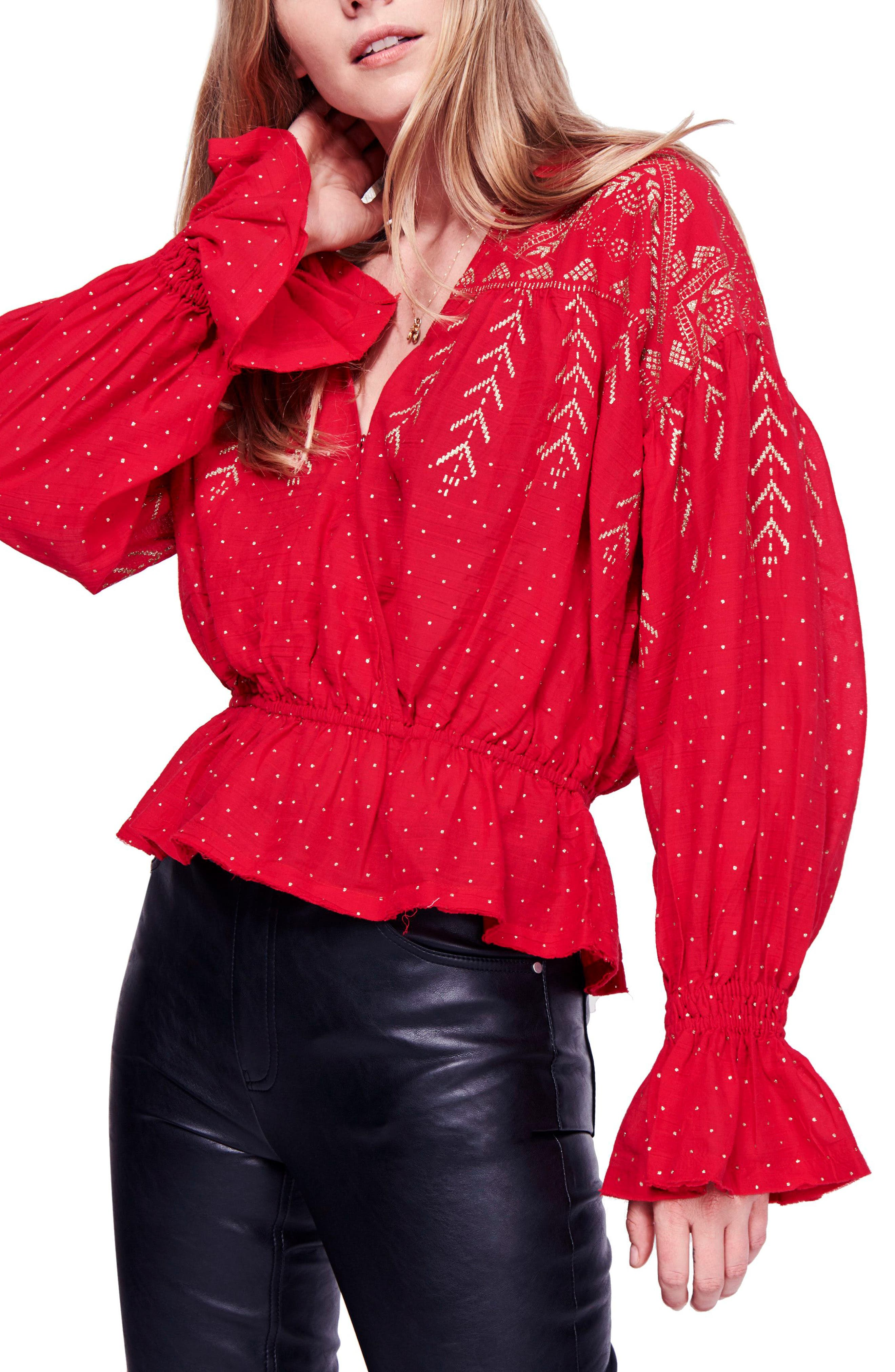 Counting Stars Blouse,                             Main thumbnail 1, color,                             RED