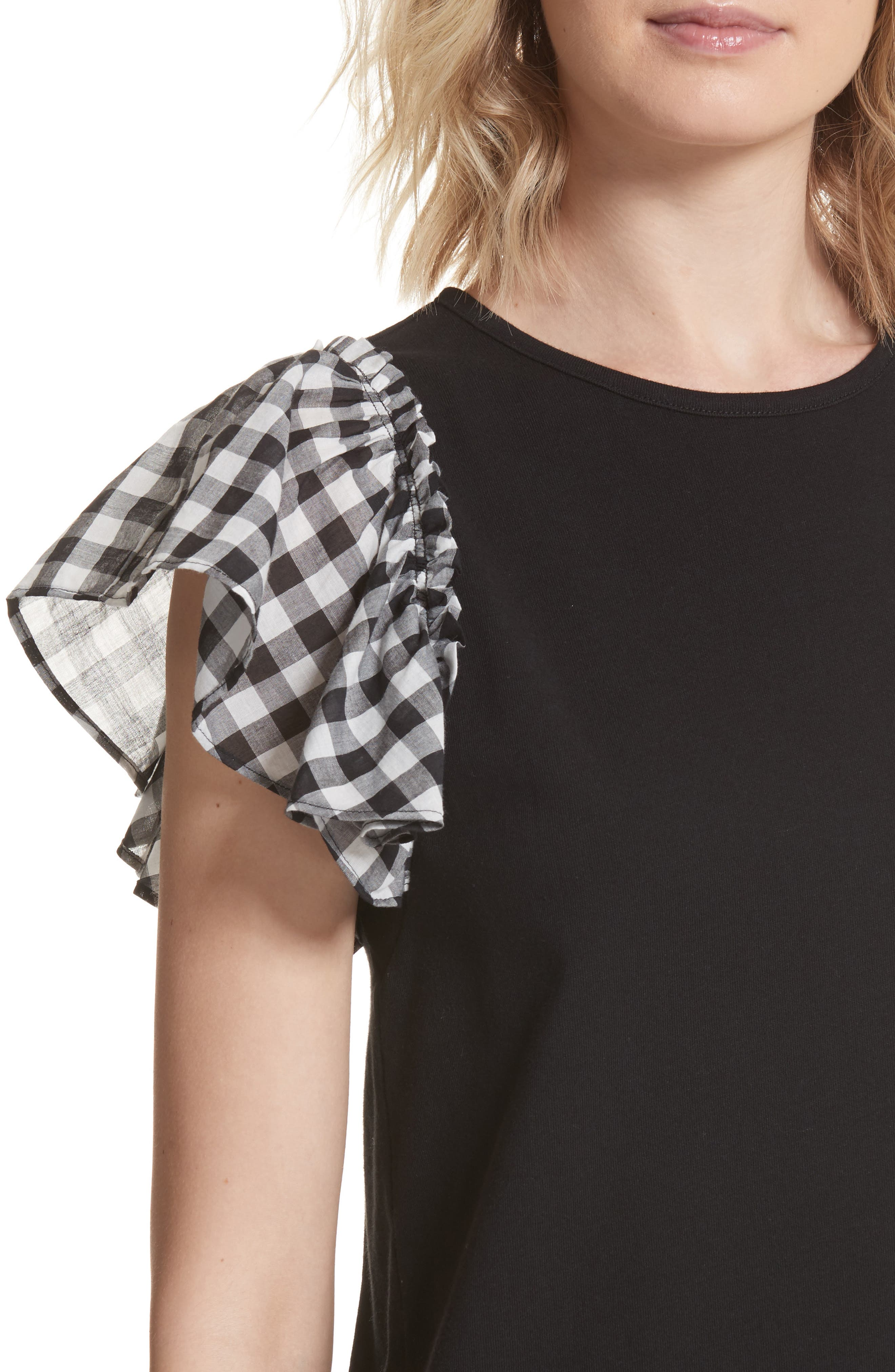 check sleeve dress,                             Alternate thumbnail 4, color,