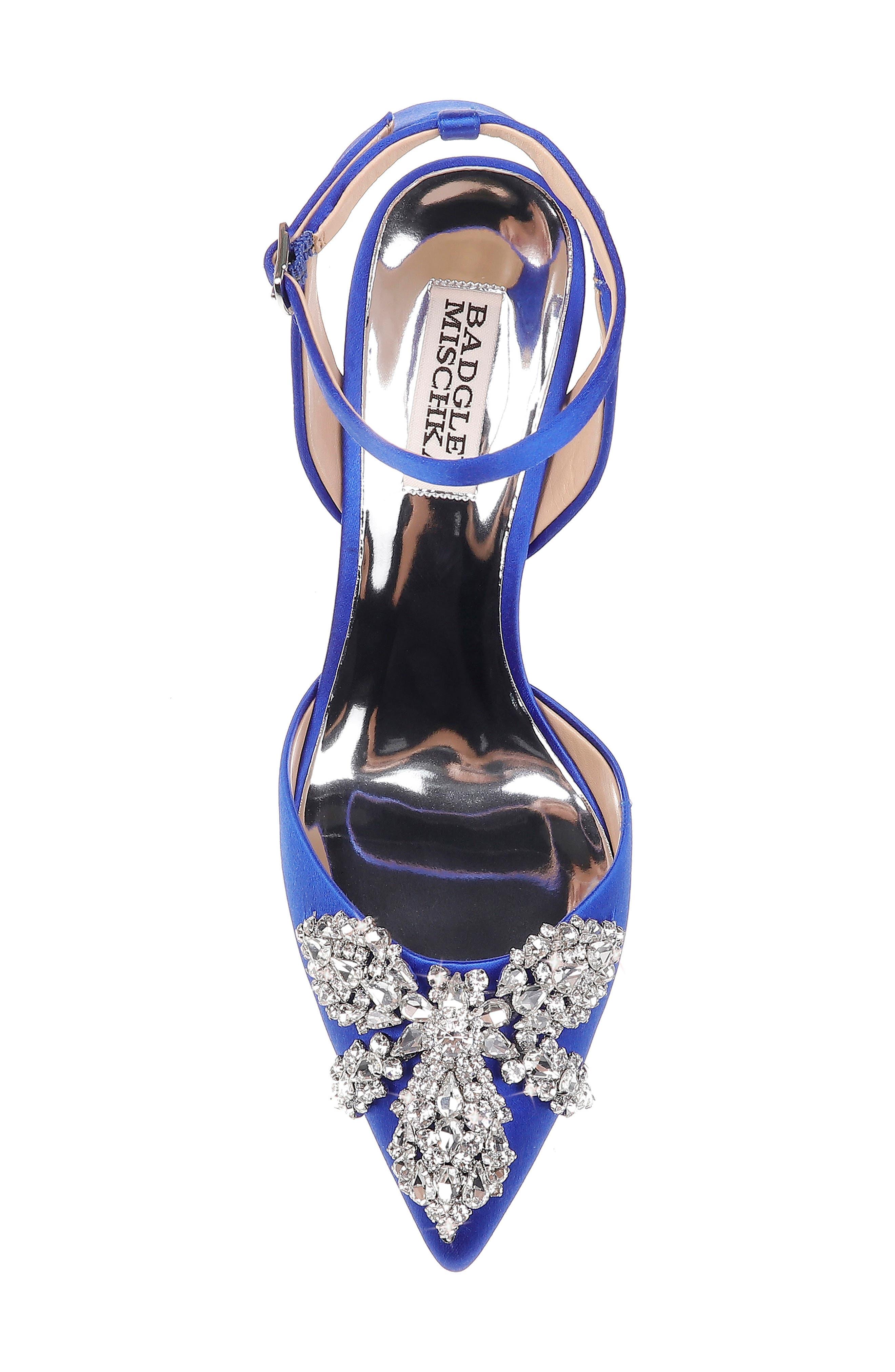 BADGLEY MISCHKA COLLECTION,                             Badgley Mischka Fana Crystal Embellished Pump,                             Alternate thumbnail 5, color,                             AFRICAN BLUE SATIN