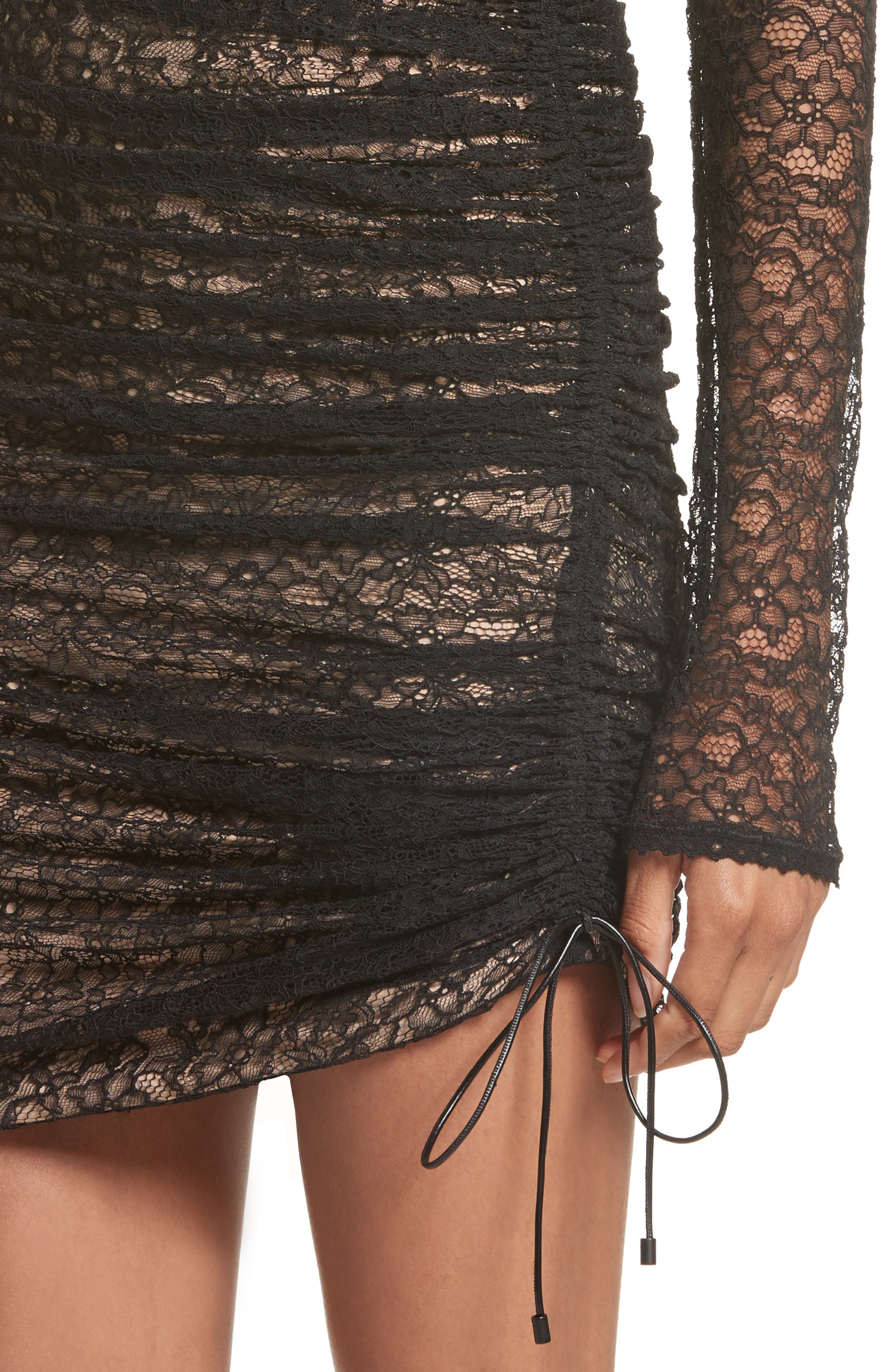 Ruched Lace Dress,                             Alternate thumbnail 4, color,                             001